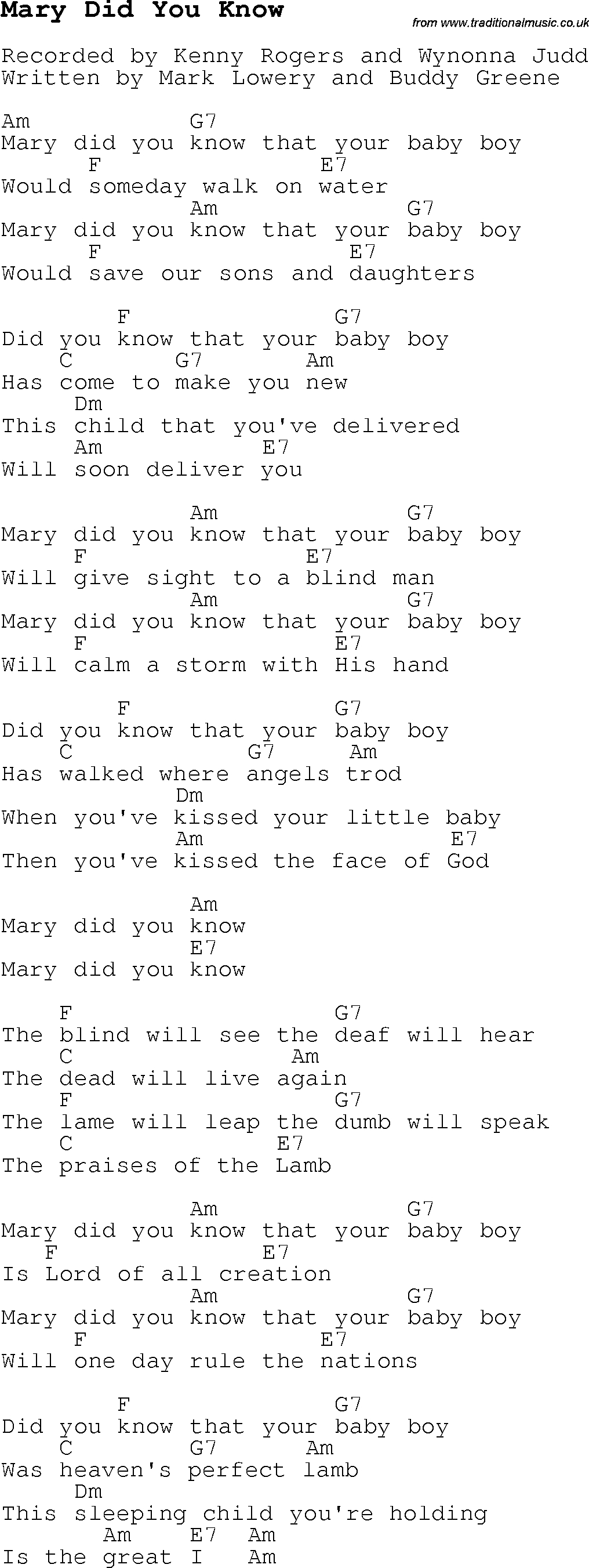 Mary Did You Know Chords Christmas Carolsong Lyrics With Chords For Mary Did You Know