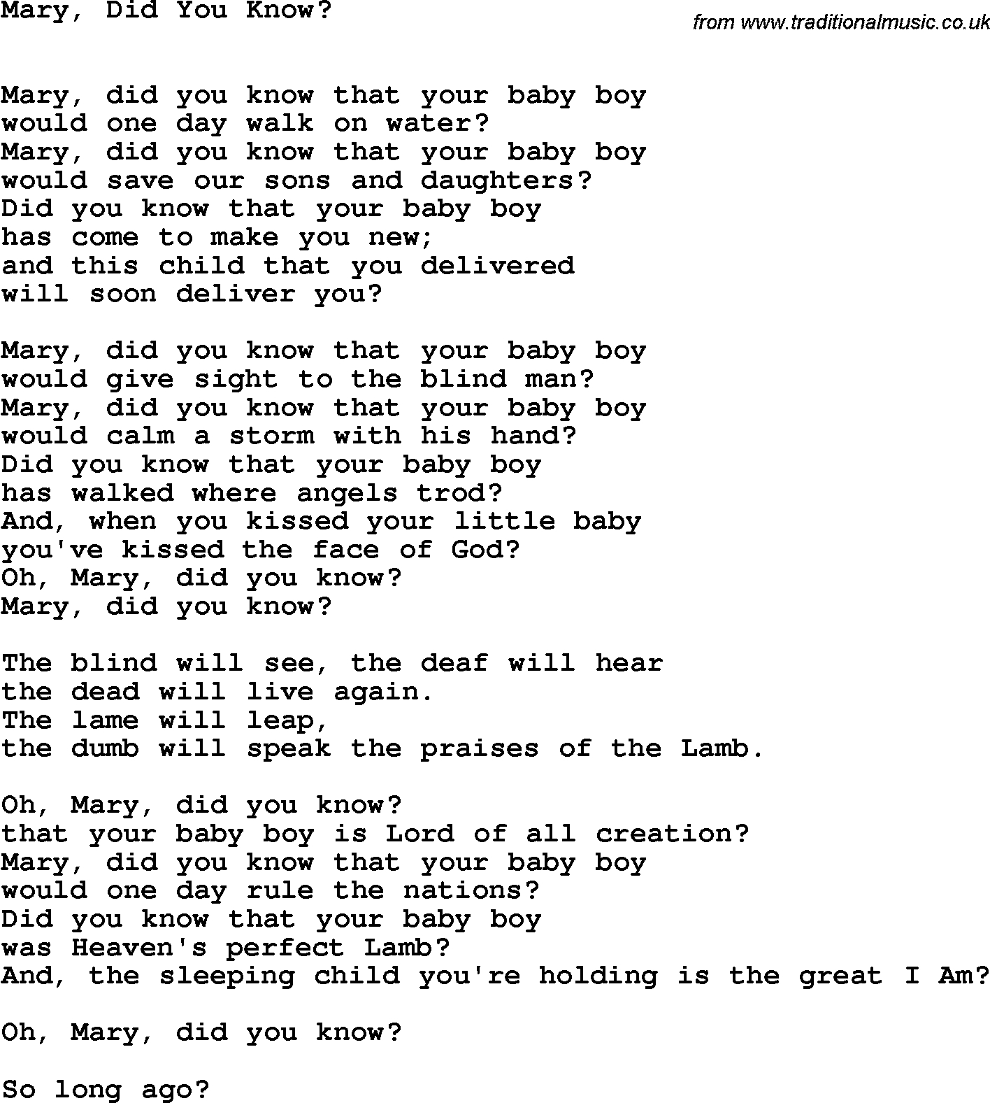 Mary Did You Know Chords Country Southern And Bluegrass Gospel Song Mary Did You Know Lyrics