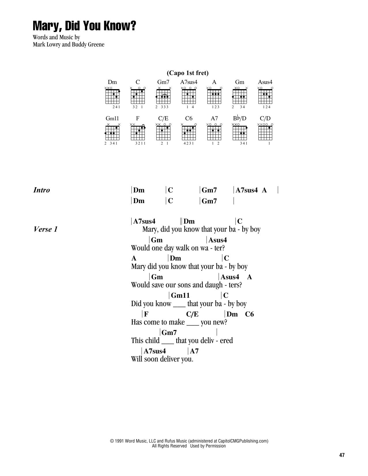 Mary Did You Know Chords Mary Did You Know Mark Lowry Guitar Chordslyrics Digital Sheet Music
