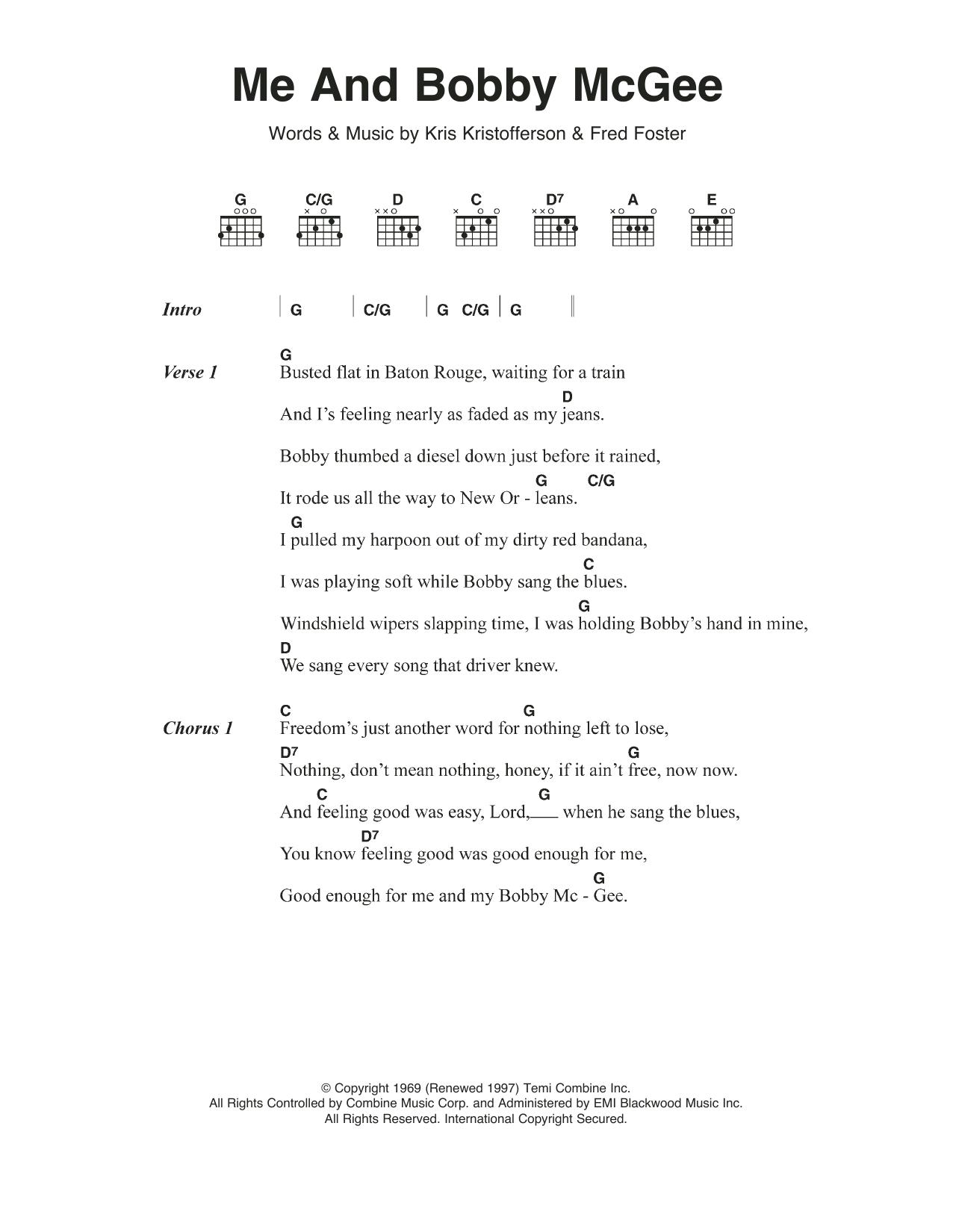 Me And Bobby Mcgee Chords Me And Bob Mcgee Janis Joplin Guitar Chordslyrics Guitar