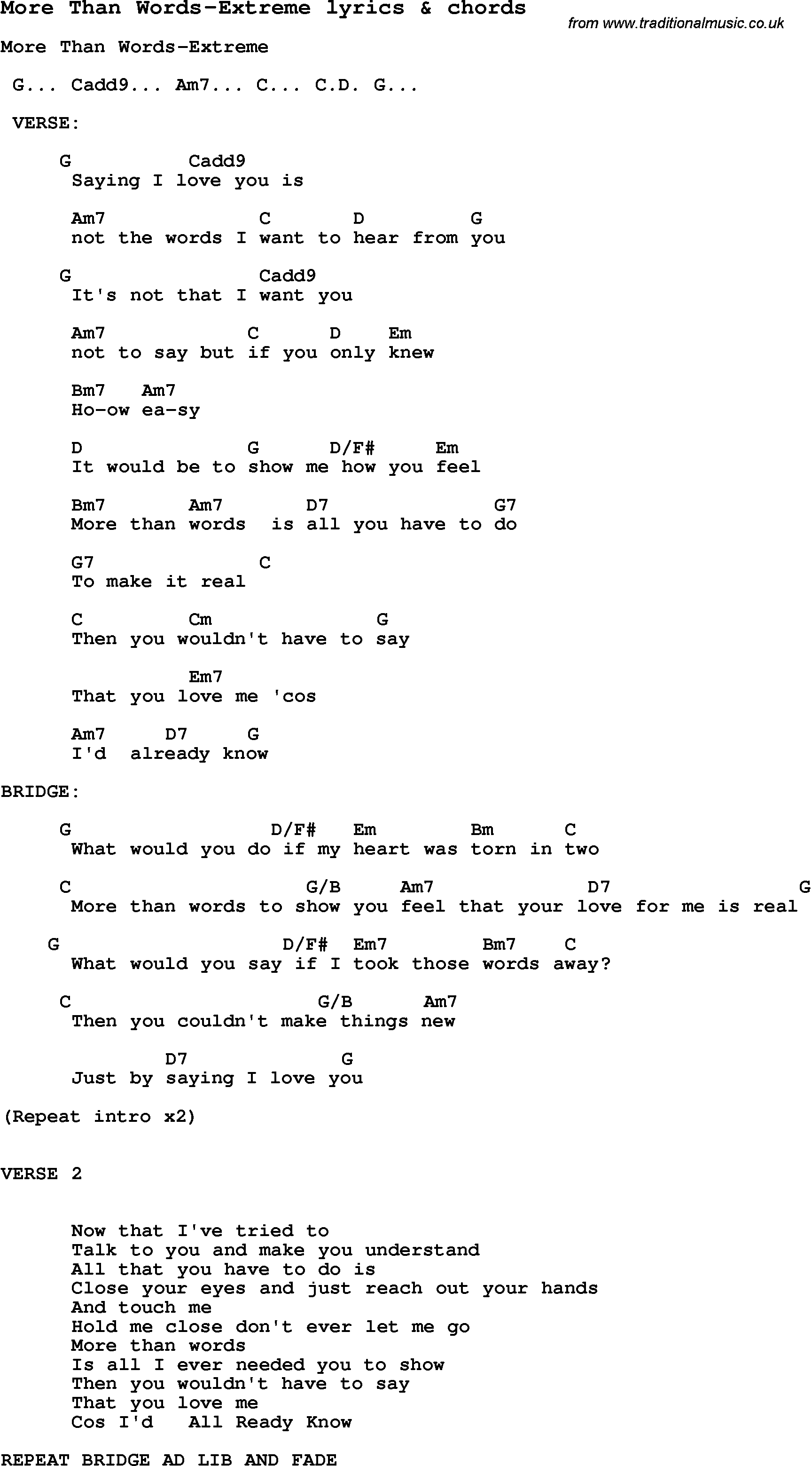 More Than Words Chords Love Song Lyrics Formore Than Words Extreme With Chords