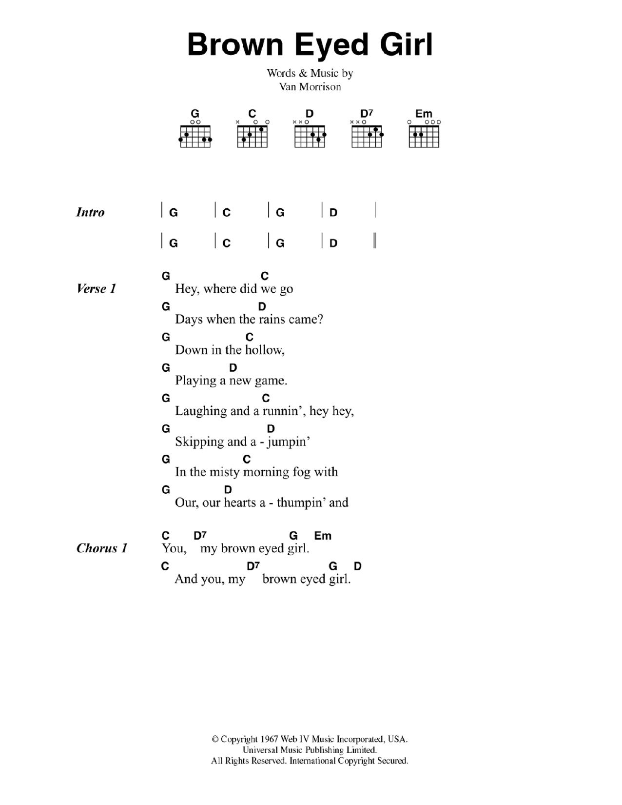 My Girl Chords Brown Eyed Girl Sheet Music Van Morrison Guitar Chordslyrics