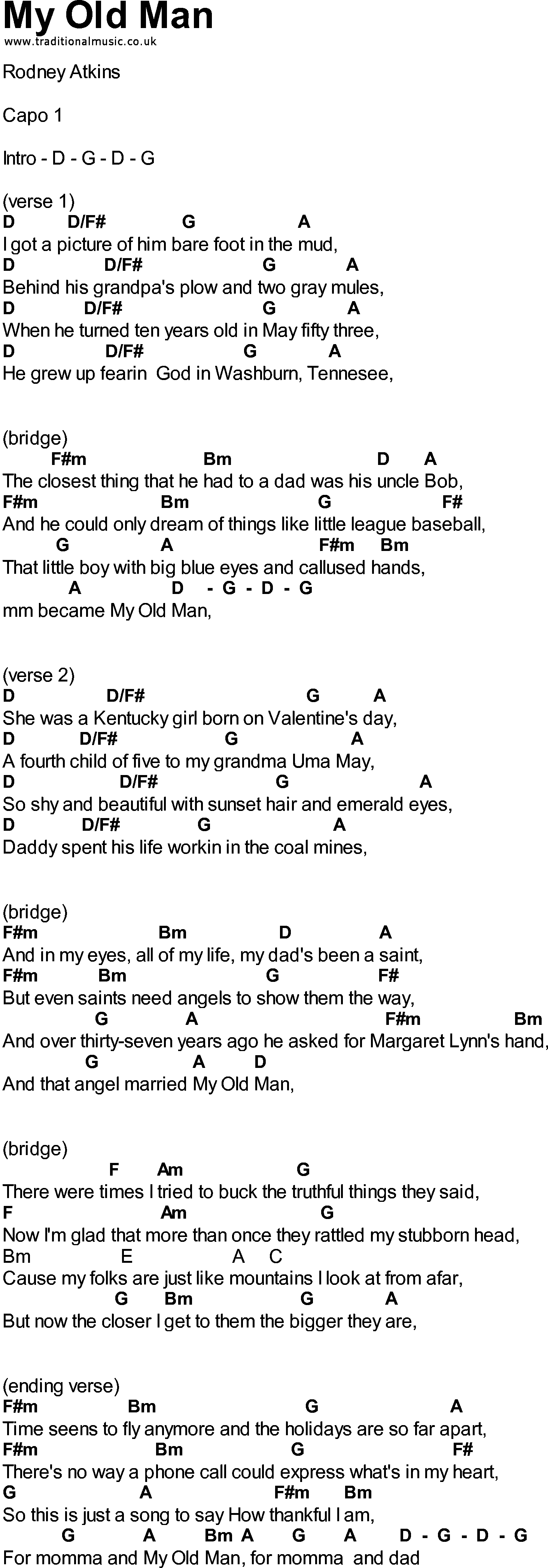 Old Man Chords Bluegrass Songs With Chords My Old Man