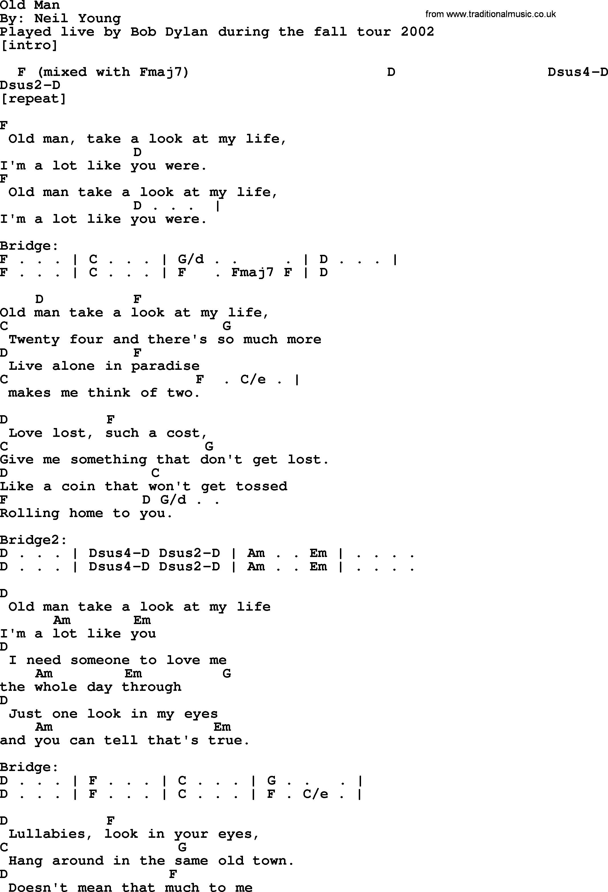 Old Man Chords Bob Dylan Song Old Man Lyrics And Chords