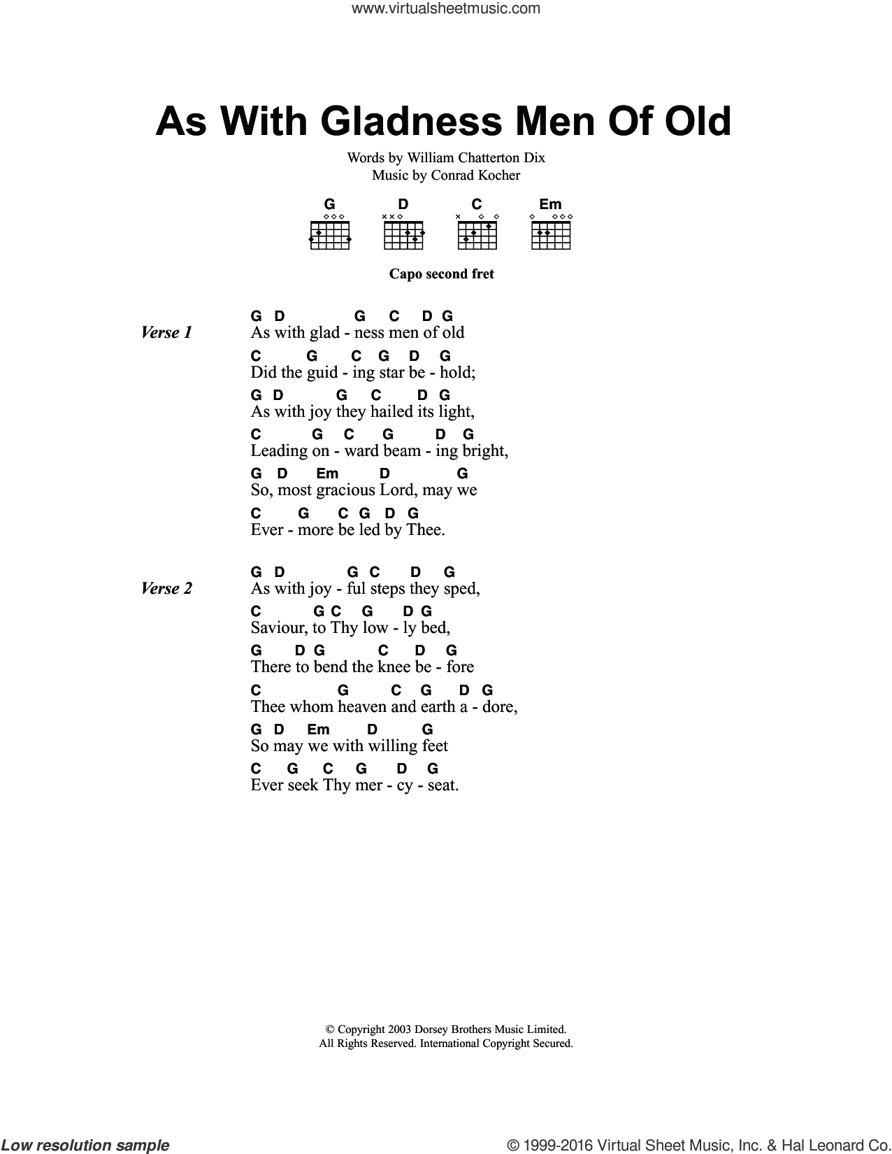 Old Man Chords Dix As With Gladness Men Of Old Sheet Music For Guitar Chords
