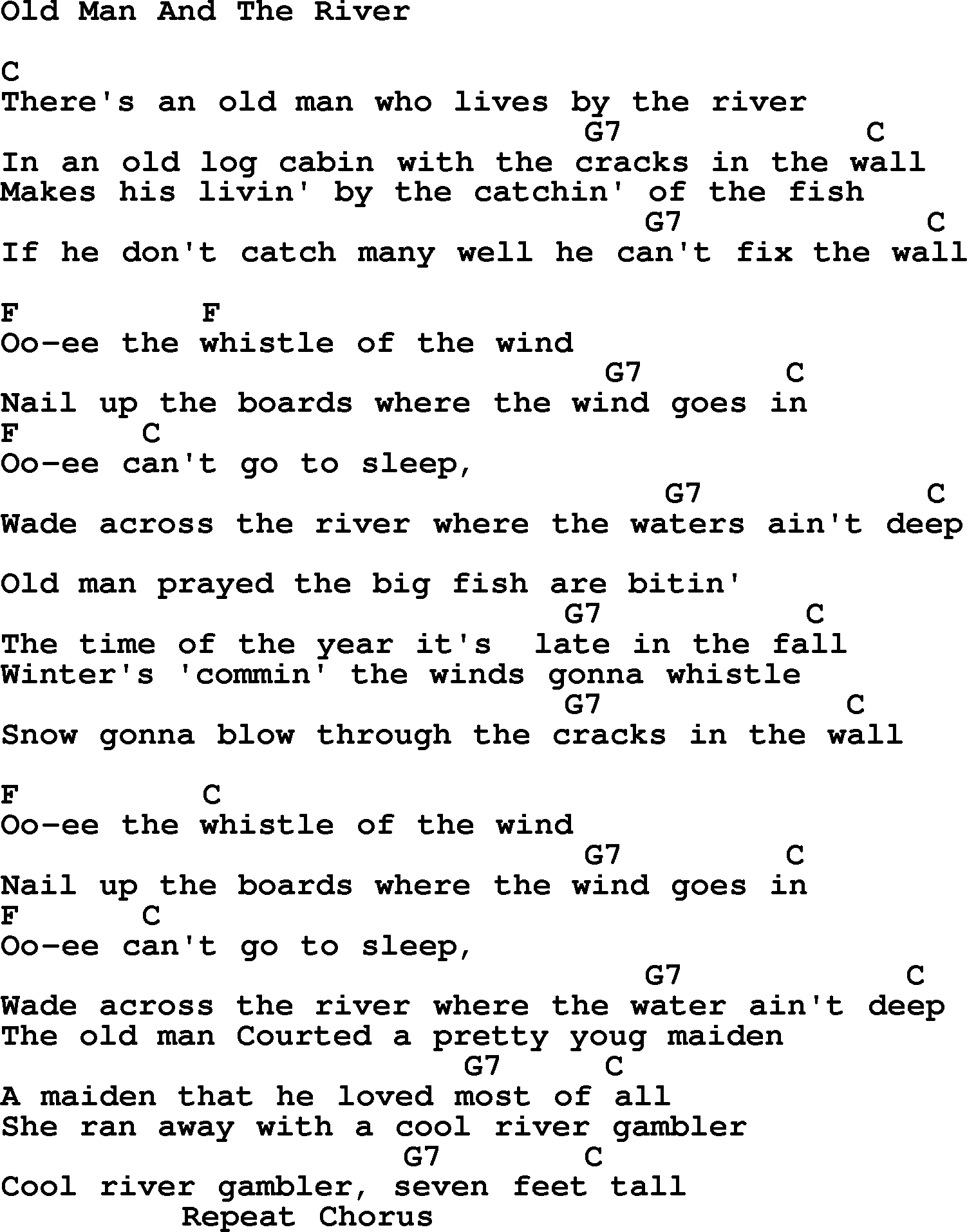 Old Man Chords Hank Williams Song Old Man And The River Lyrics And Chords