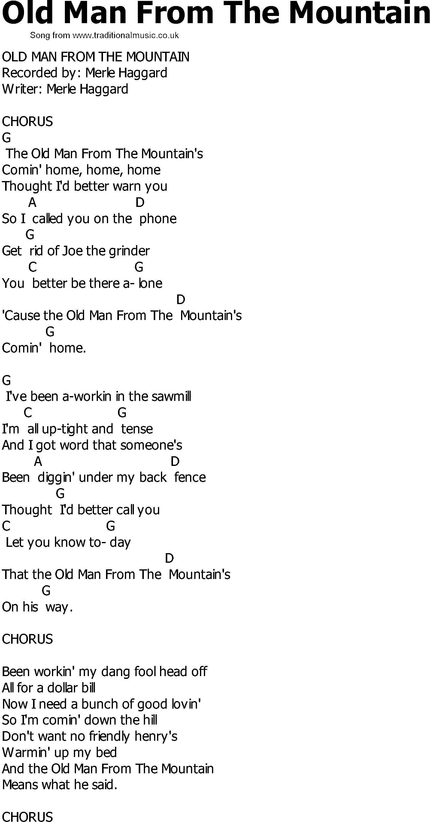 Old Man Chords Old Country Song Lyrics With Chords Old Man From The Mountain