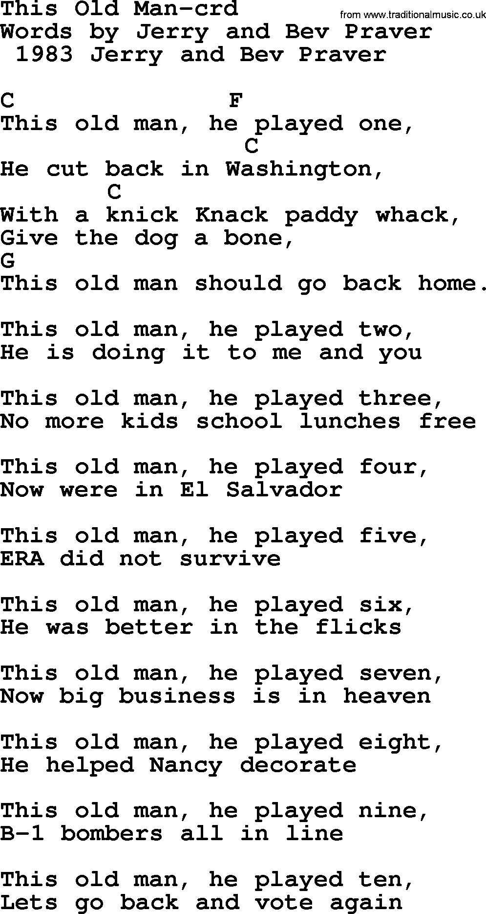 Old Man Chords Pete Seeger Song This Old Man Lyrics And Chords