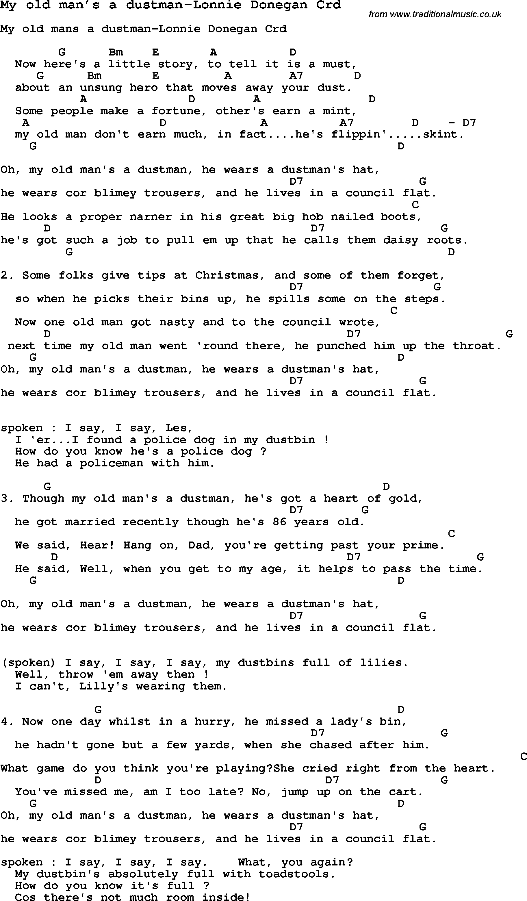 Old Man Chords Skiffle Lyrics For My Old Mans A Dustman Lonnie Donegan With