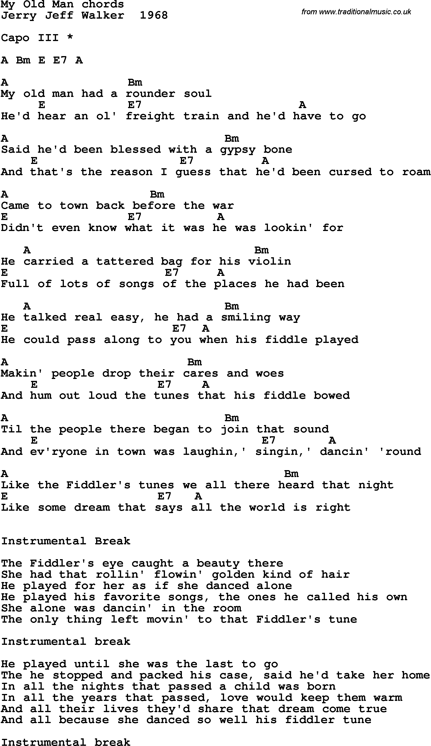 Old Man Chords Song Lyrics With Guitar Chords For My Old Man