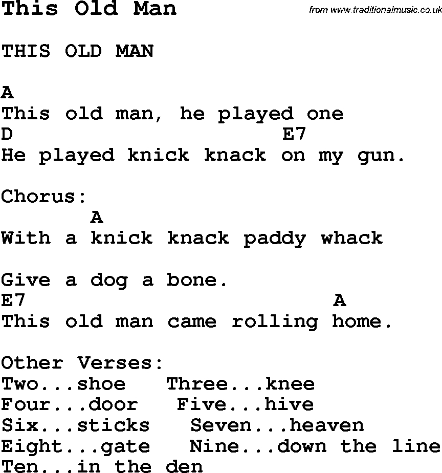 Old Man Chords Summer Camp Song This Old Man With Lyrics And Chords For Ukulele