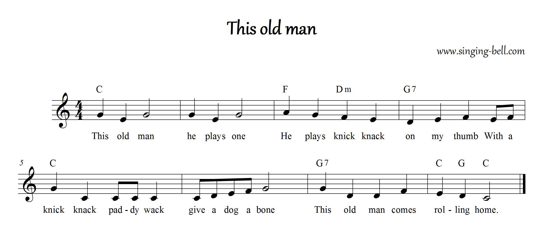 Old Man Chords This Old Man Song Karaoke Pdf Printable Lyrics