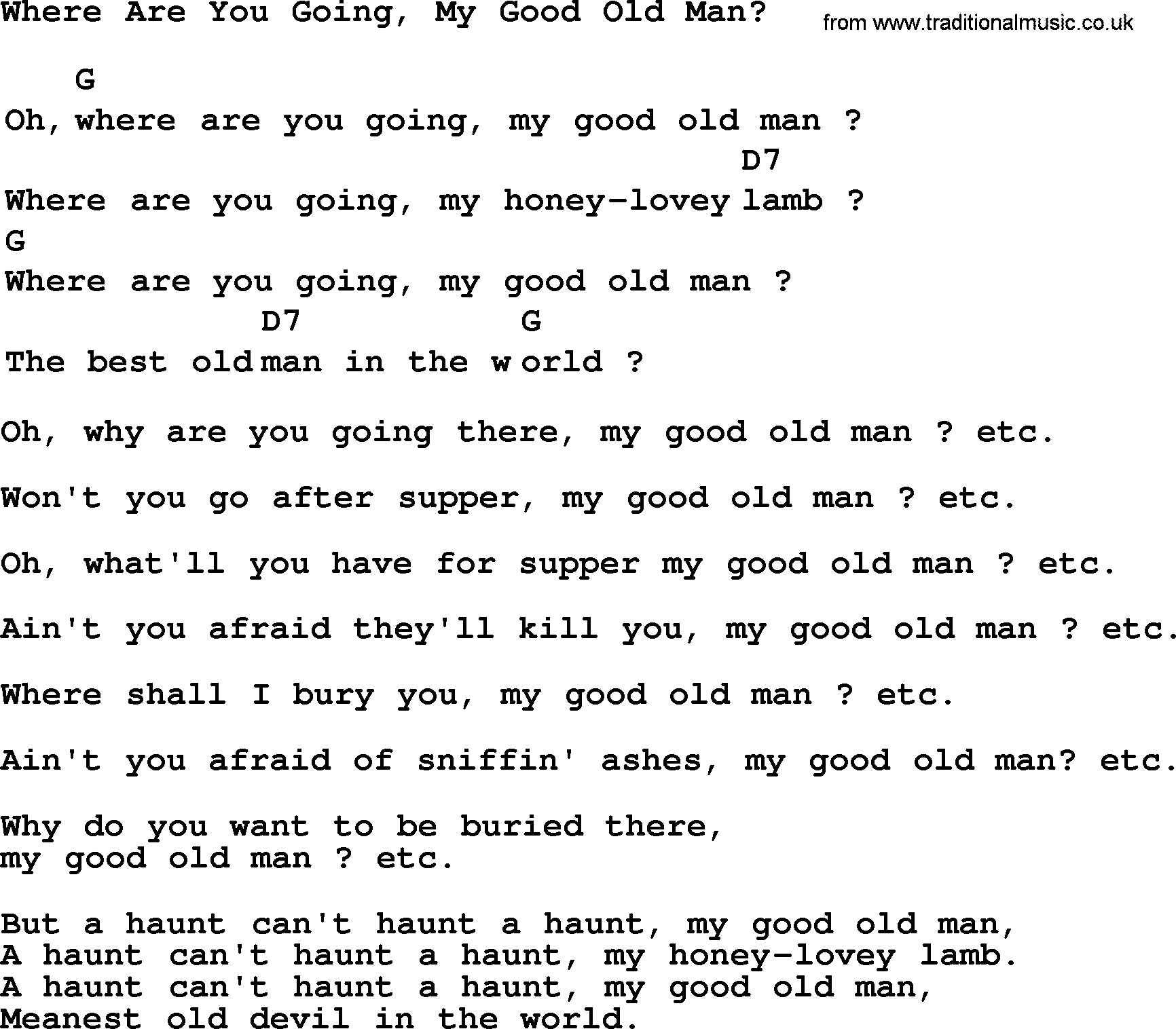Old Man Chords Top 1000 Folk And Old Time Songs Collection Where Are You Going My