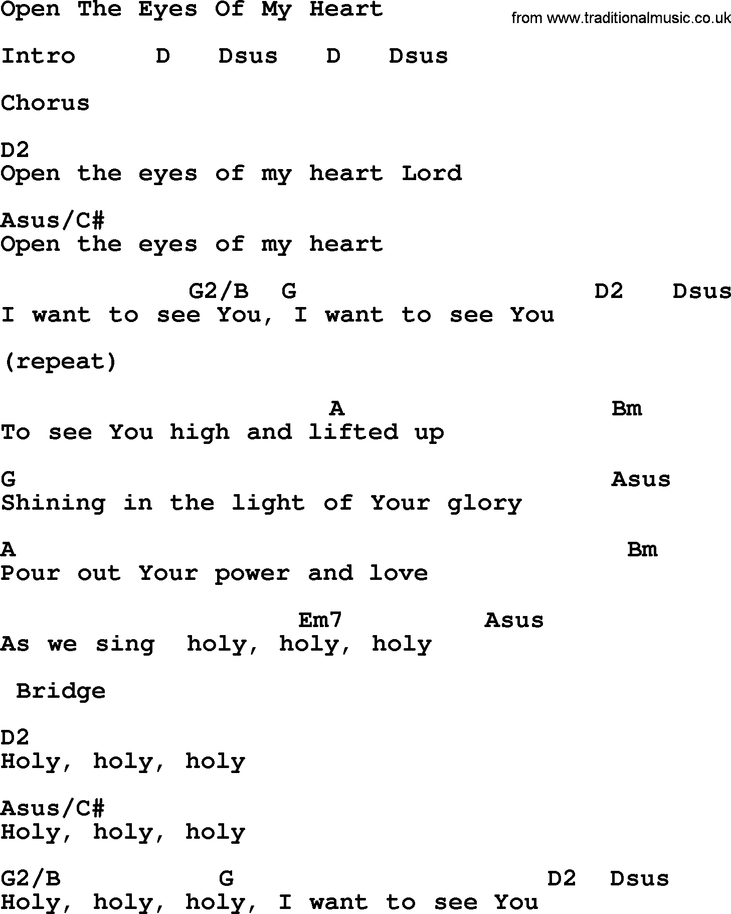 Open The Eyes Of My Heart Chords Ascension Hymn Open The Eyes Of My Heart Lyrics Chords And Pdf