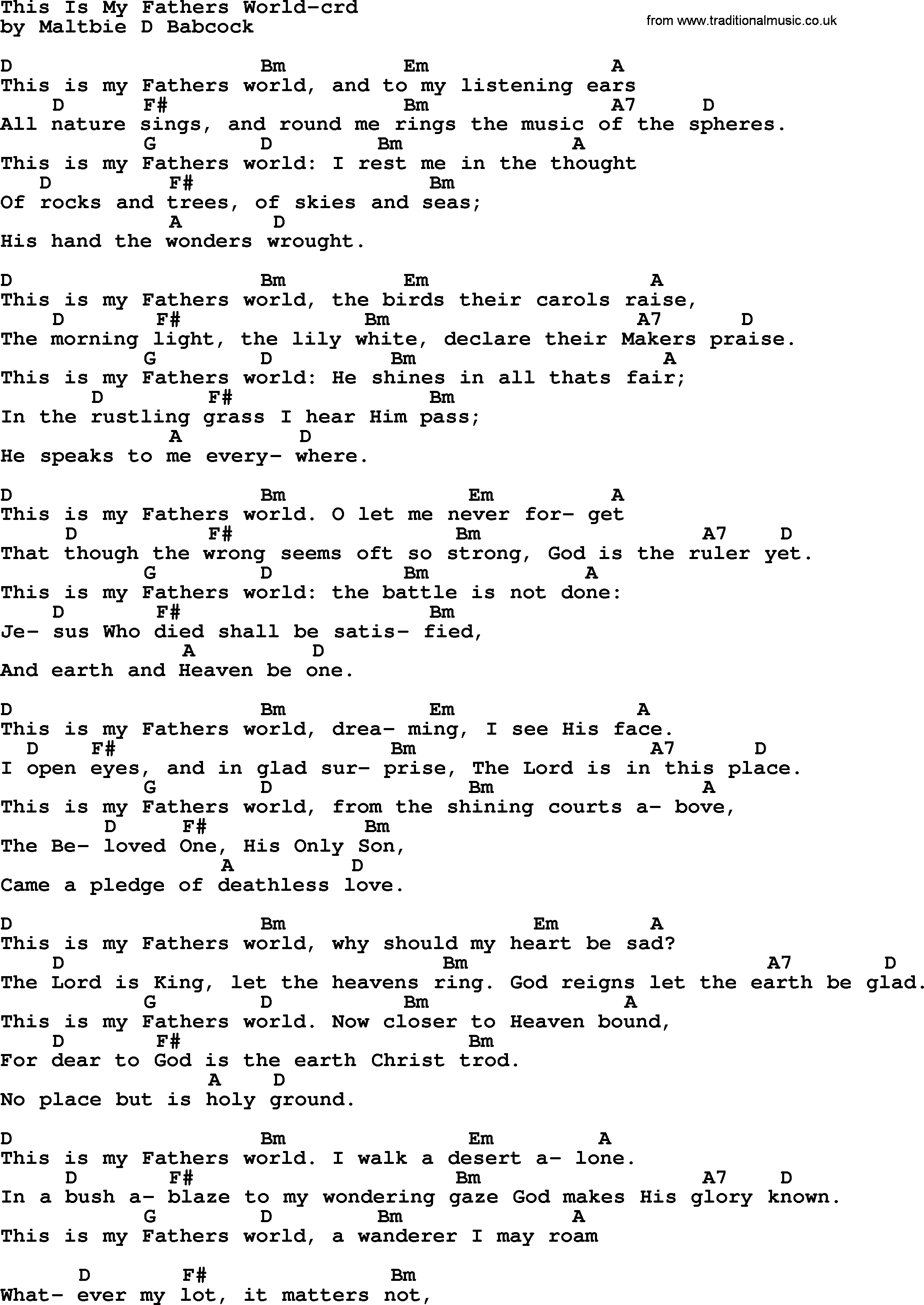 Open The Eyes Of My Heart Chords Top 500 Hymn This Is My Fathers World Lyrics Chords And Pdf