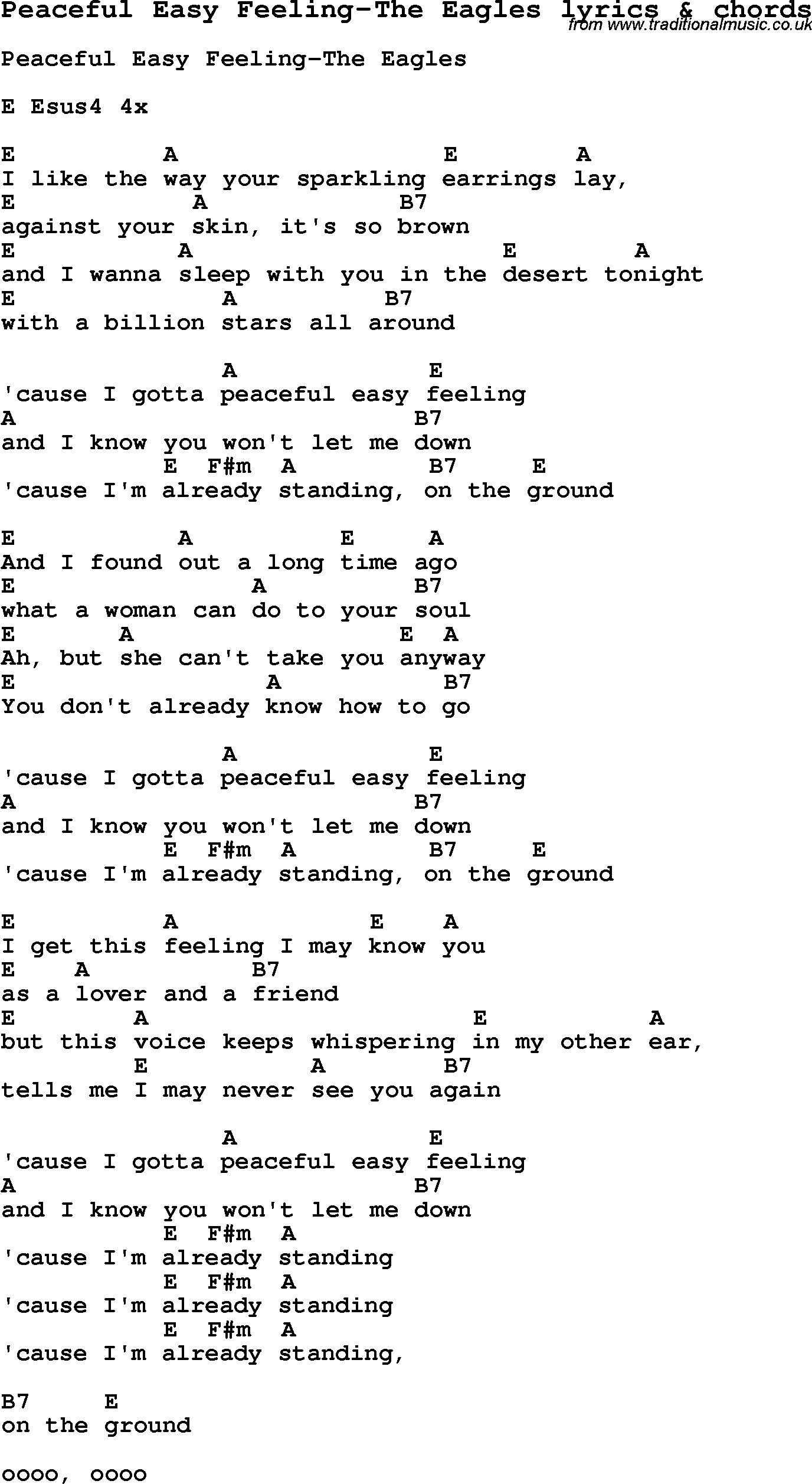 Peaceful Easy Feeling Chords Love Song Lyrics Forpeaceful Easy Feeling The Eagles With Chords