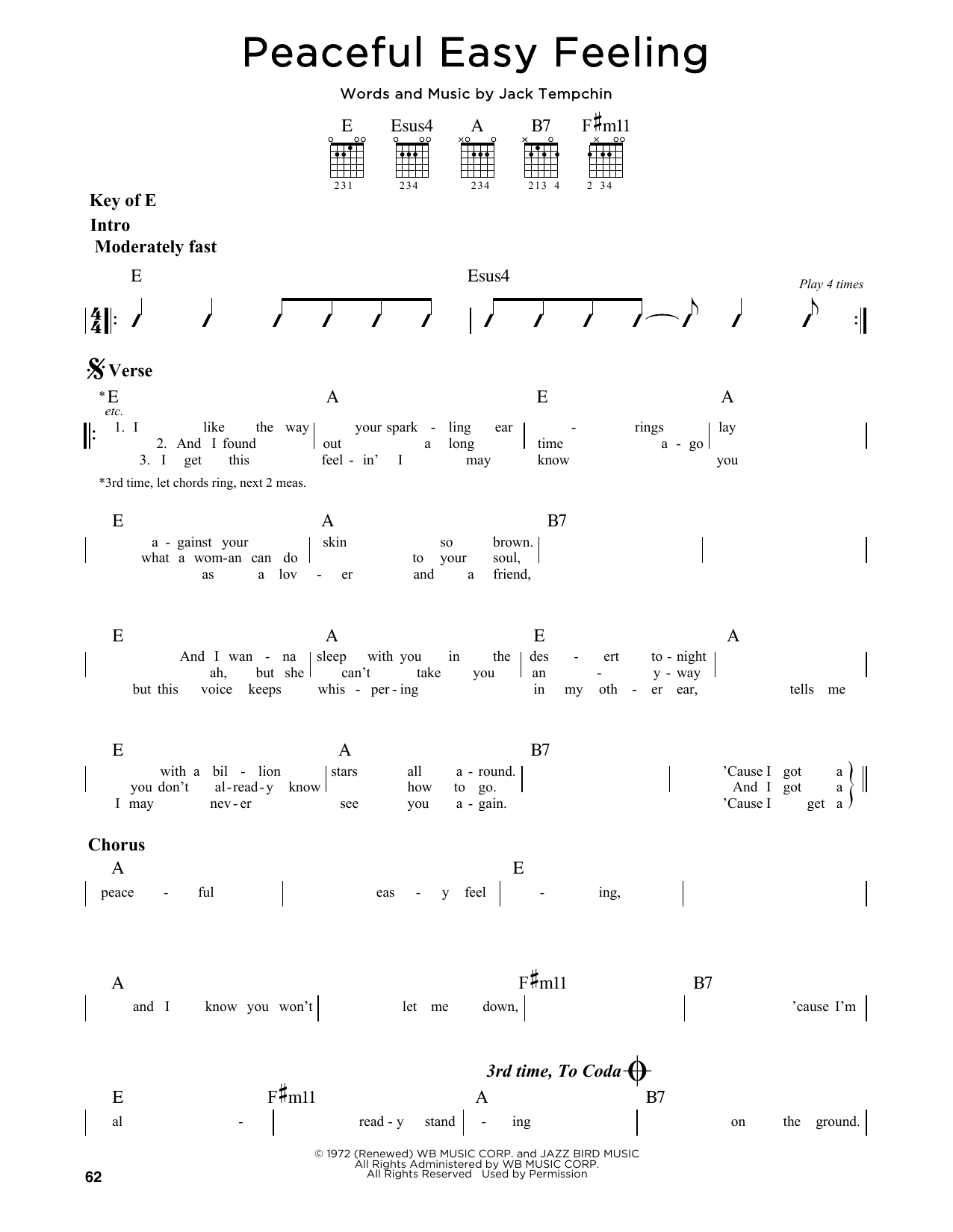 Peaceful Easy Feeling Chords Peaceful Easy Feeling Eagles Guitar Lead Sheet Guitar Instructor