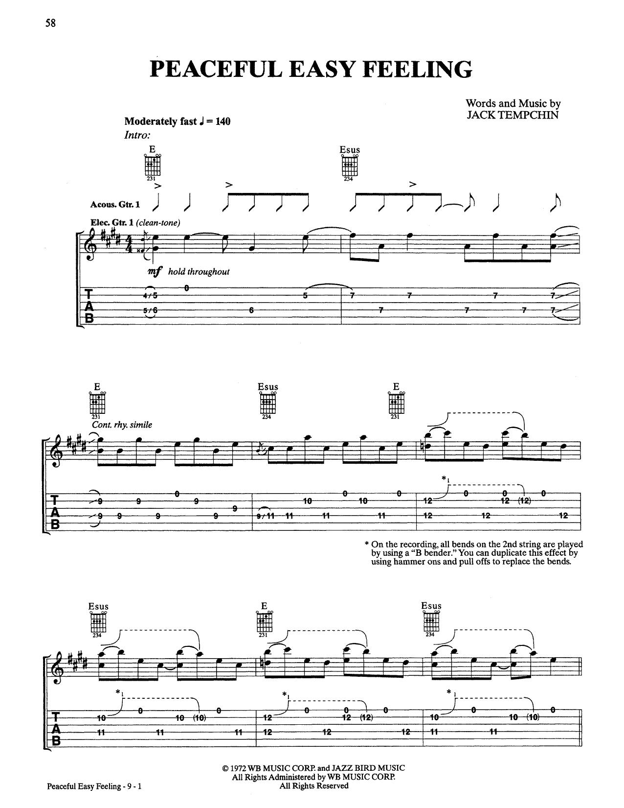 Peaceful Easy Feeling Chords Peaceful Easy Feeling Sheet Music Eagles Guitar Tab