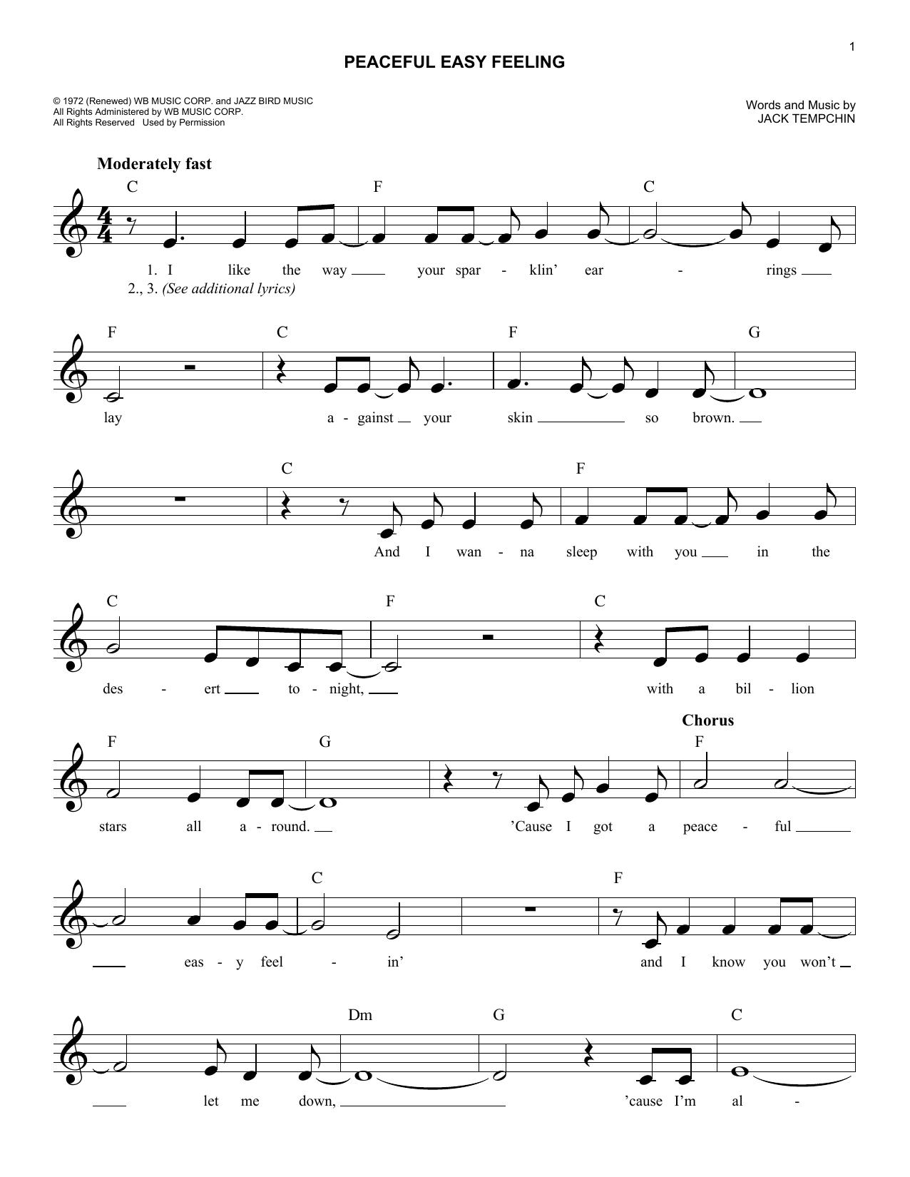 Peaceful Easy Feeling Chords Peaceful Easy Feeling Sheet Music Eagles Lead Sheet Fake Book