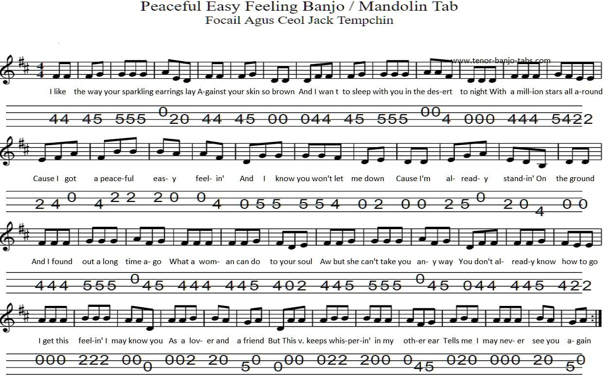 Peaceful Easy Feeling Chords Peaceful Easy Feeling The Eagles Banjo Mandolin Tab Tenor Banjo Tabs