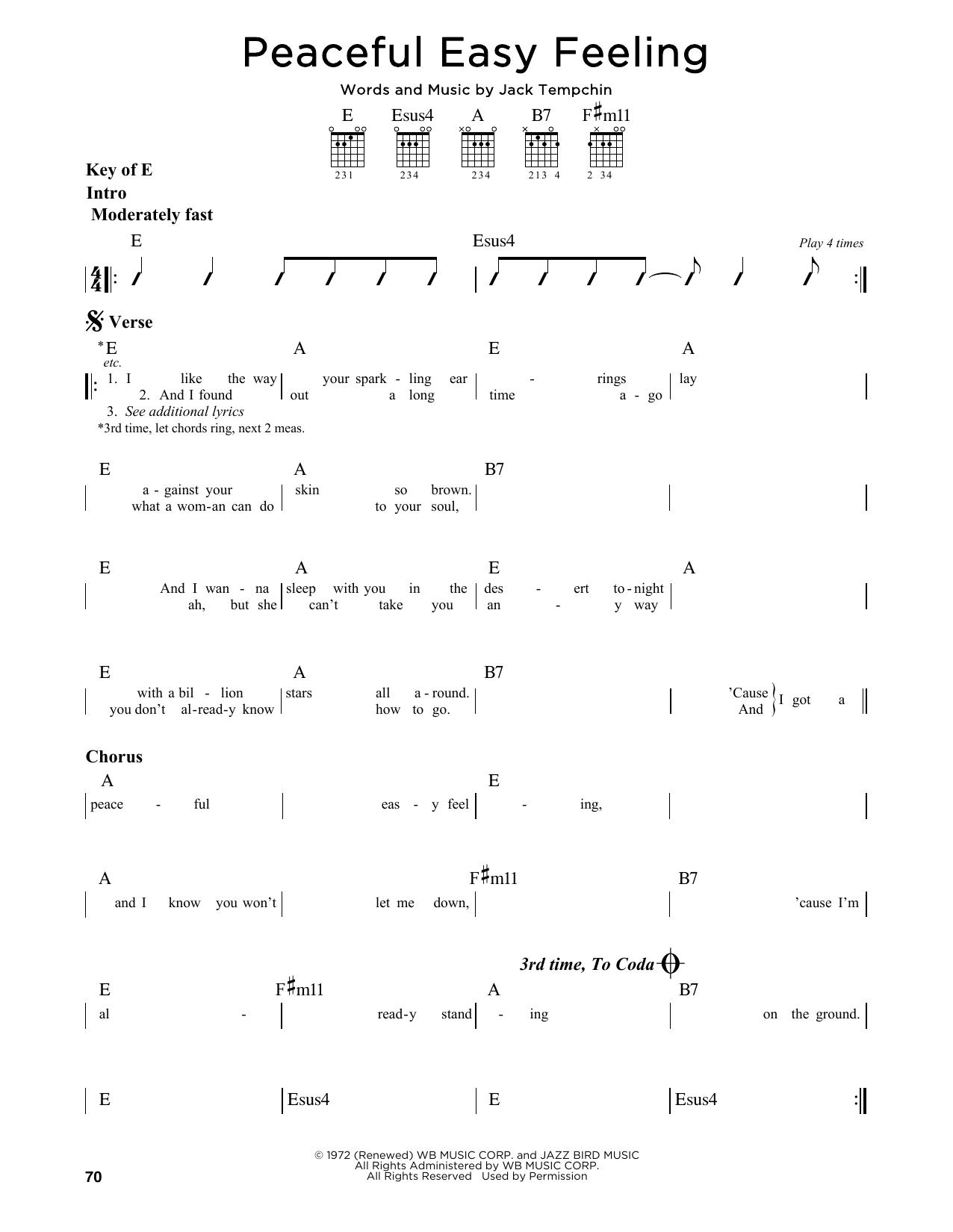 Peaceful Easy Feeling Chords Sheet Music Digital Files To Print Licensed Jack Tempchin Digital