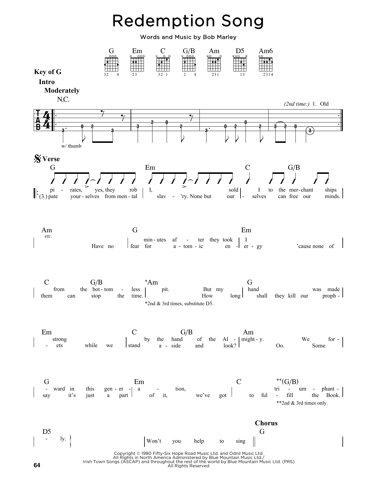 Redemption Song Chords Bob Marley Redemption Song Atstantons Sheet Music
