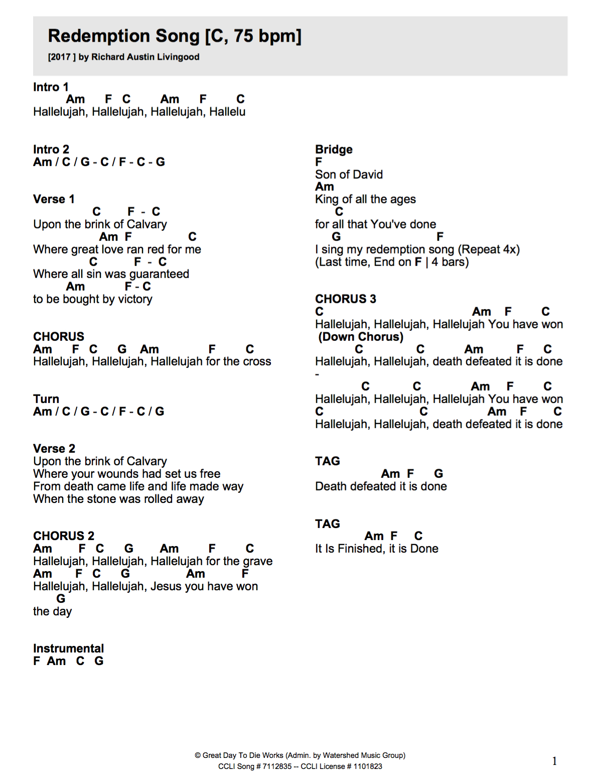Redemption Song Chords Redemption Song Crossroads Media