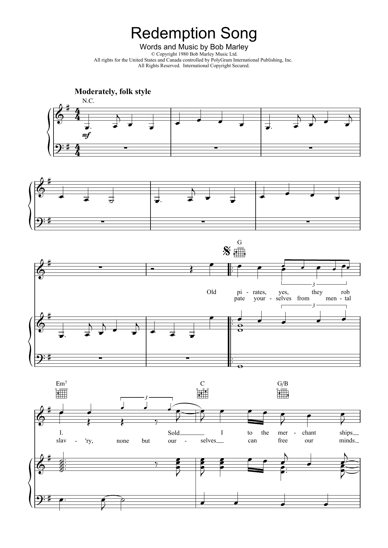 Redemption Song Chords Redemption Song