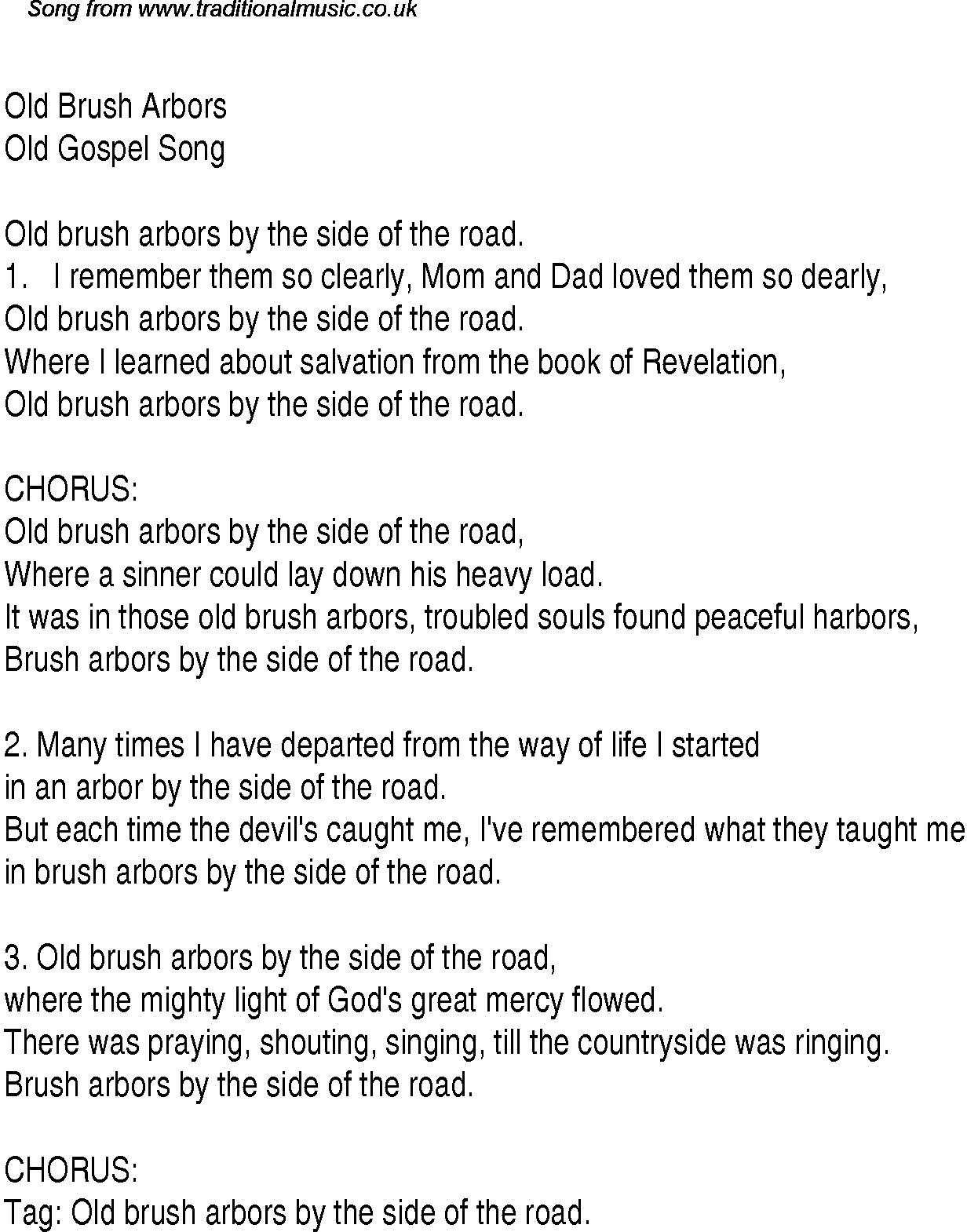Revelation Song Chords Old Brush Arbors Christian Gospel Song Lyrics And Chords