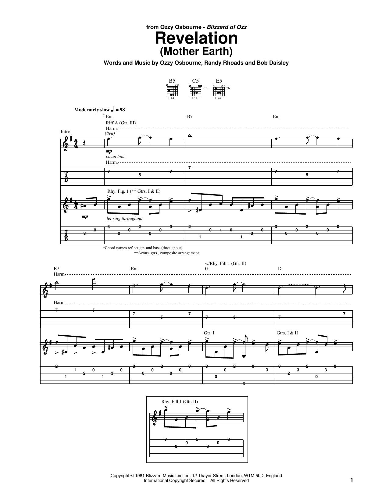 Revelation Song Chords Revelation Mother Earth Ozzy Osbourne Guitar Tab Guitar