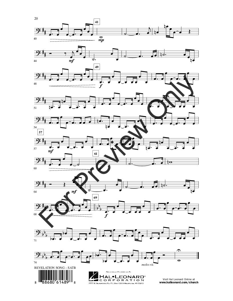 Revelation Song Chords Revelation Song Satb Jennie Lee Riddle Jw Pepper Sheet Music