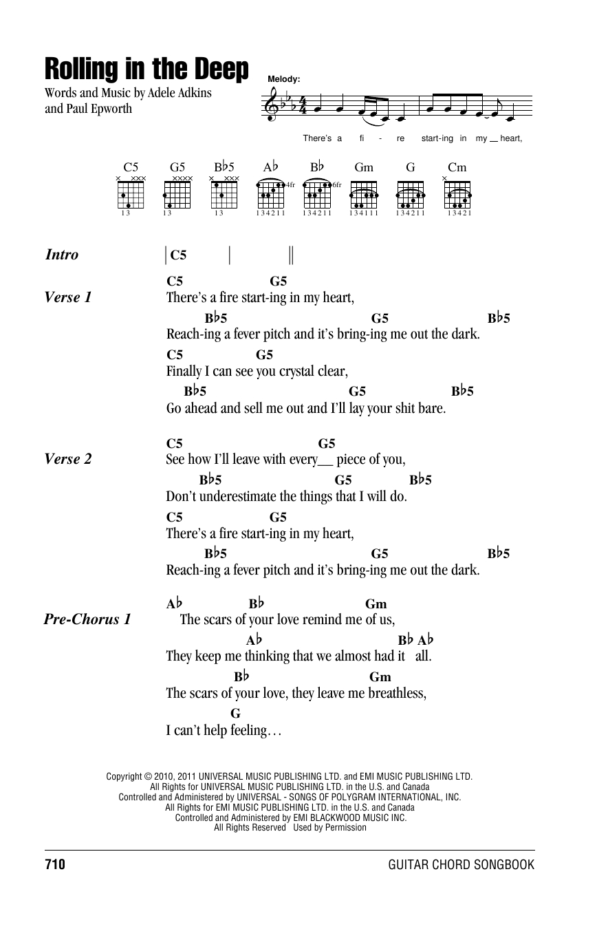 Rolling In The Deep Chords Rolling In The Deep Adele Guitar Chordslyrics Guitar Instructor