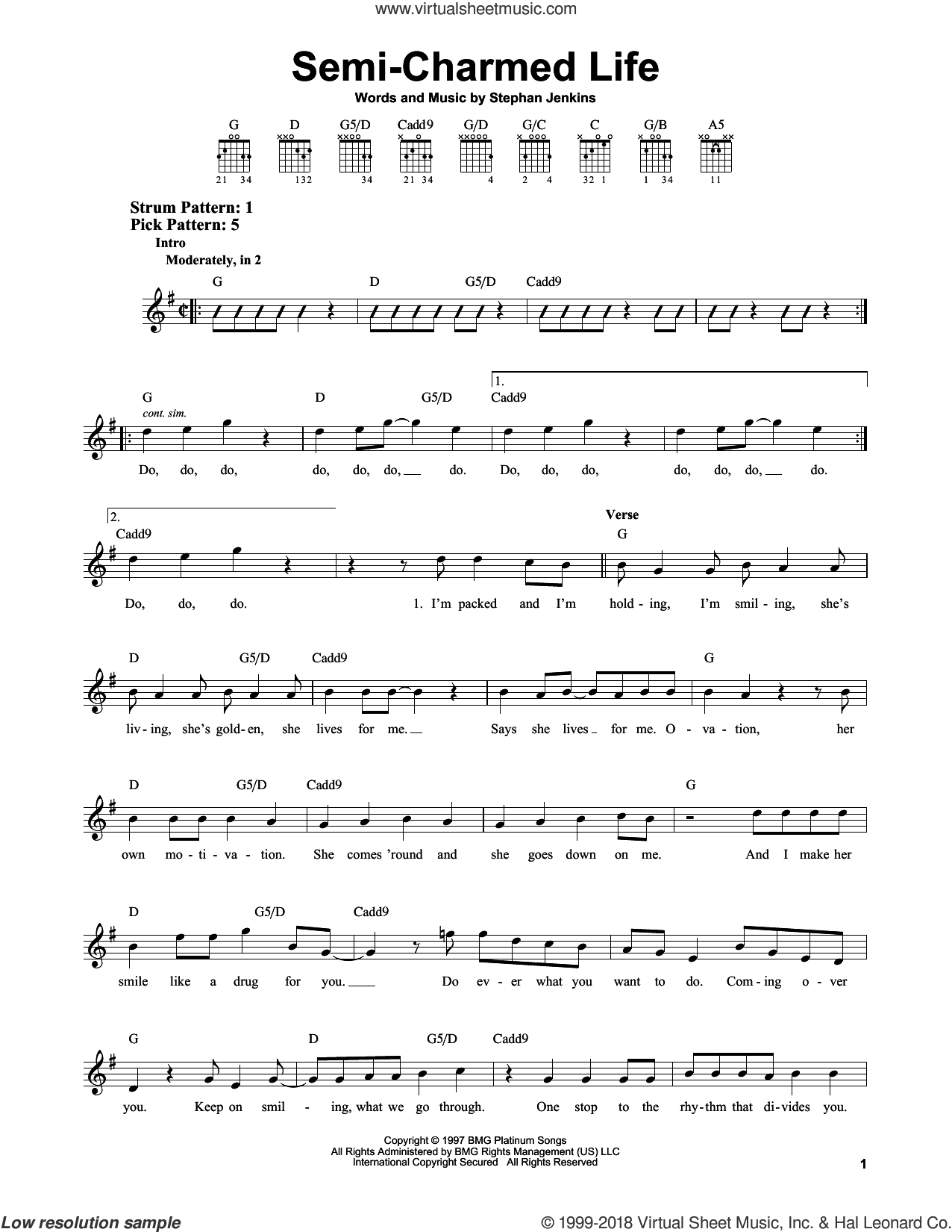 Semi Charmed Life Chords Blind Semi Charmed Life Sheet Music For Guitar Solo Chords