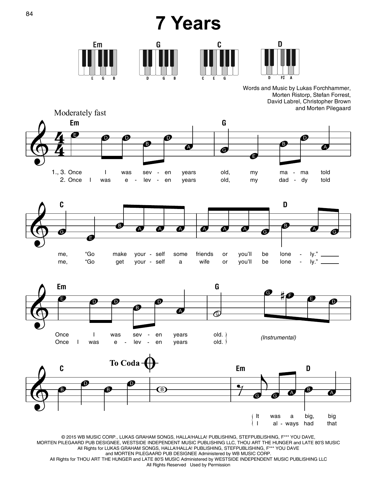 Seven Years Chords 7 Years Sheet Music Lukas Graham Super Easy Piano