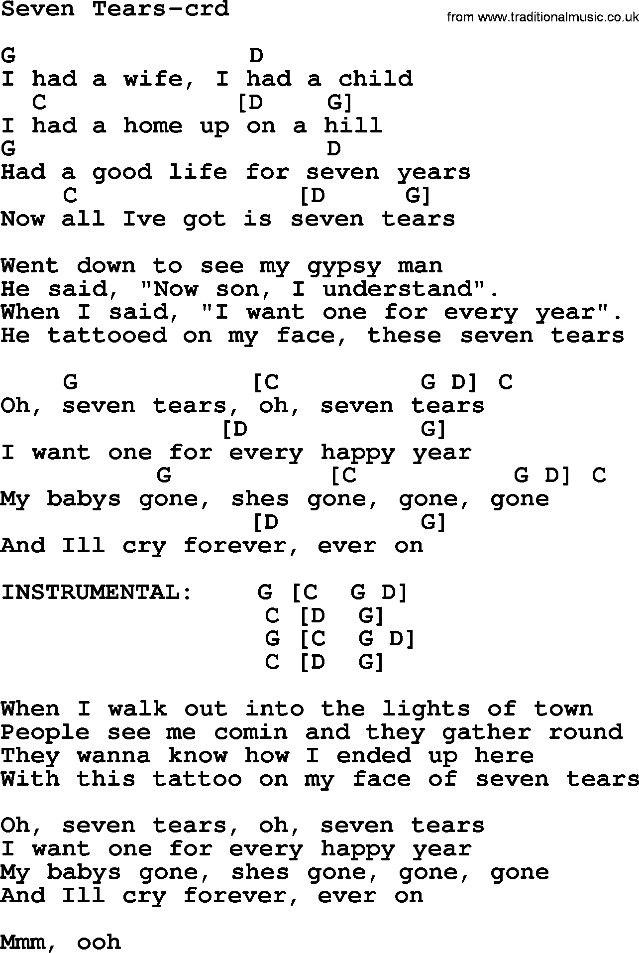 Seven Years Chords Bruce Springsteen Song Seven Tears Lyrics And Chords