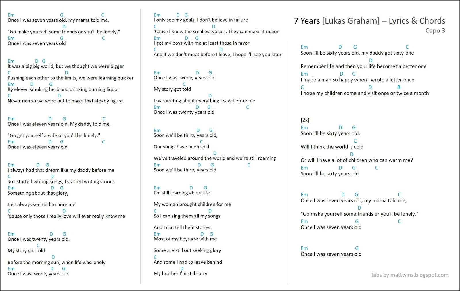 Seven Years Chords Mattwins 7 Years Lyrics Guitar Chords Lukas Graham