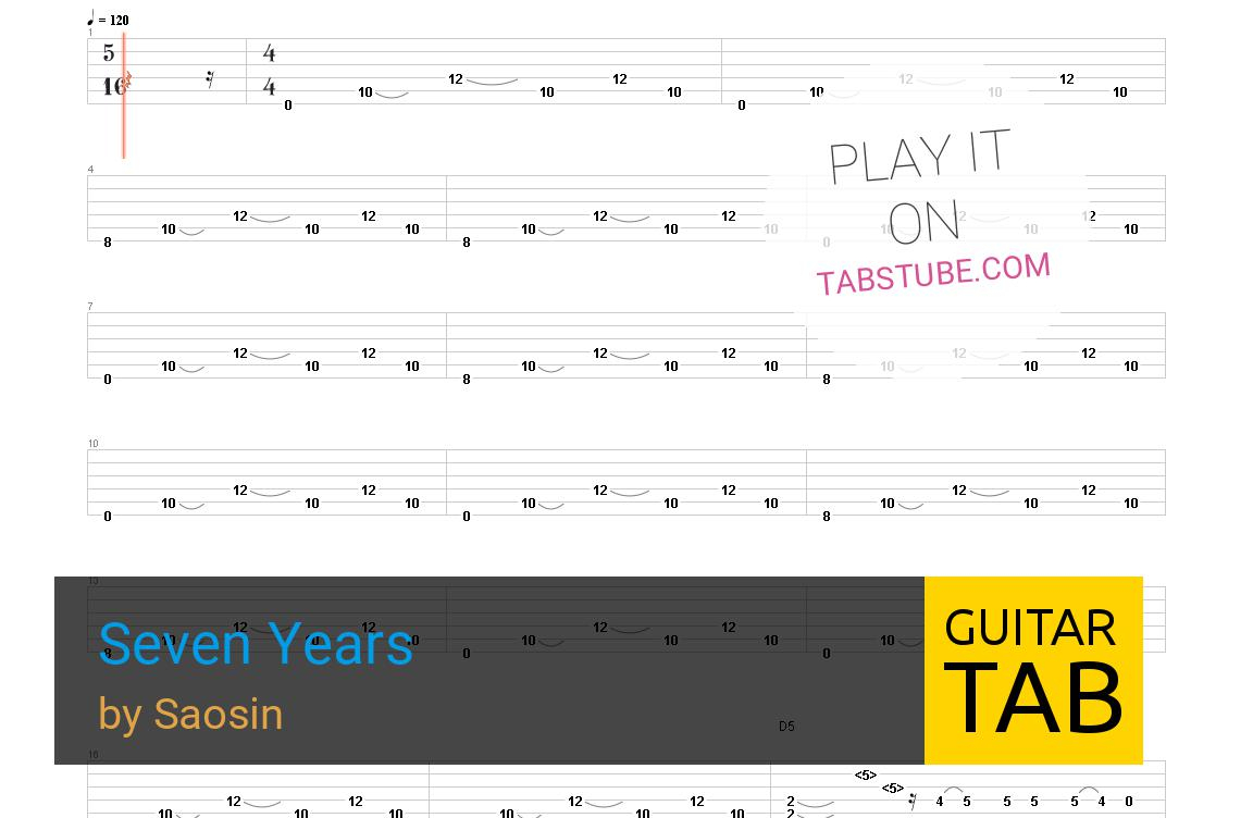 Seven Years Chords Saosin Seven Years Guitar Tab And Chords Online View Play