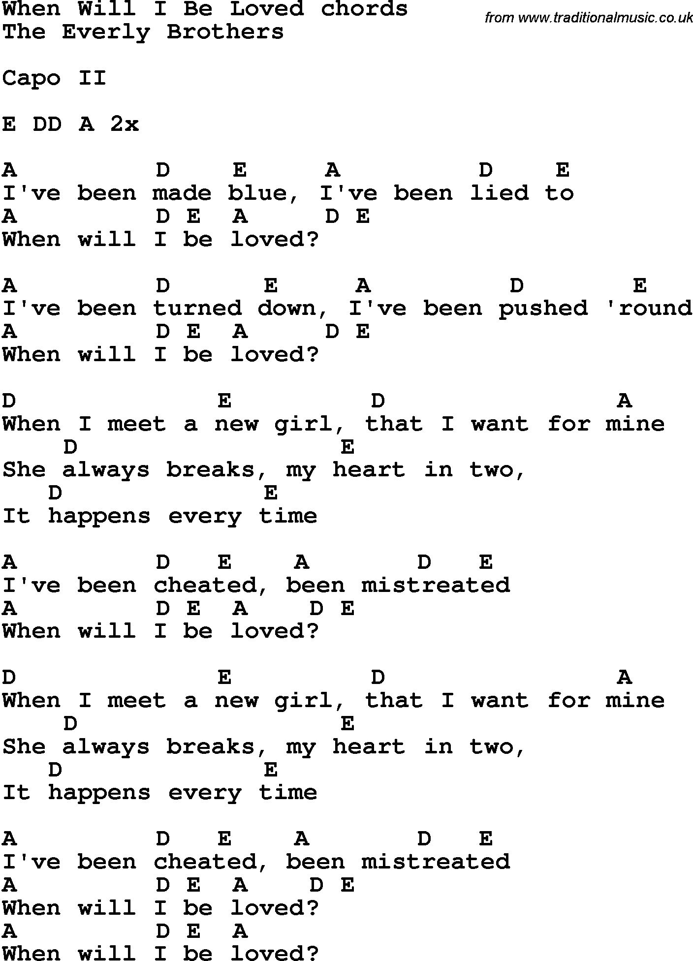 She Will Be Loved Chords Song Lyrics With Guitar Chords For When Will I Be Loved The Everly