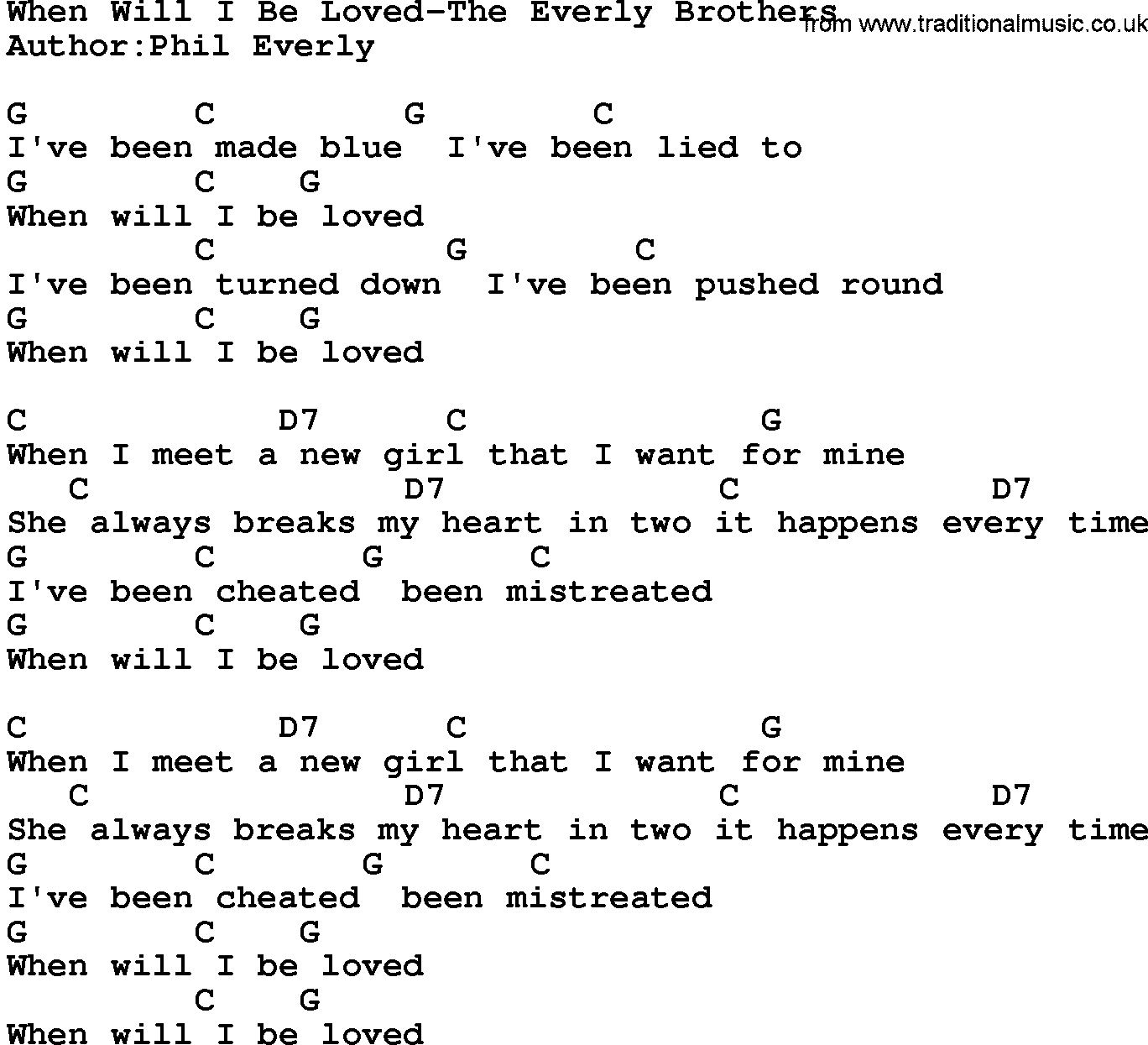 She Will Be Loved Chords When Will I Be Loved Chords