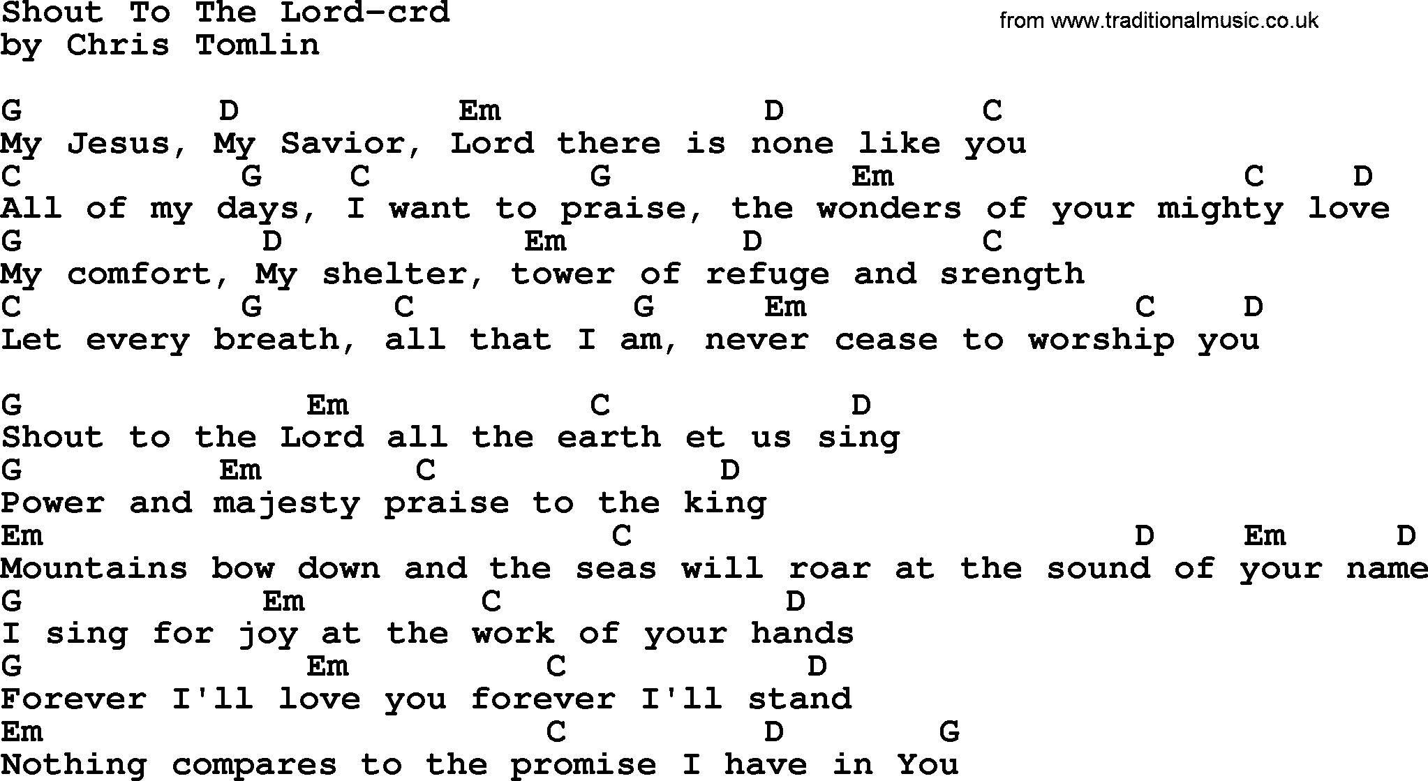 Shout To The Lord Chords Top 500 Hymn Shout To The Lord Lyrics Chords And Pdf