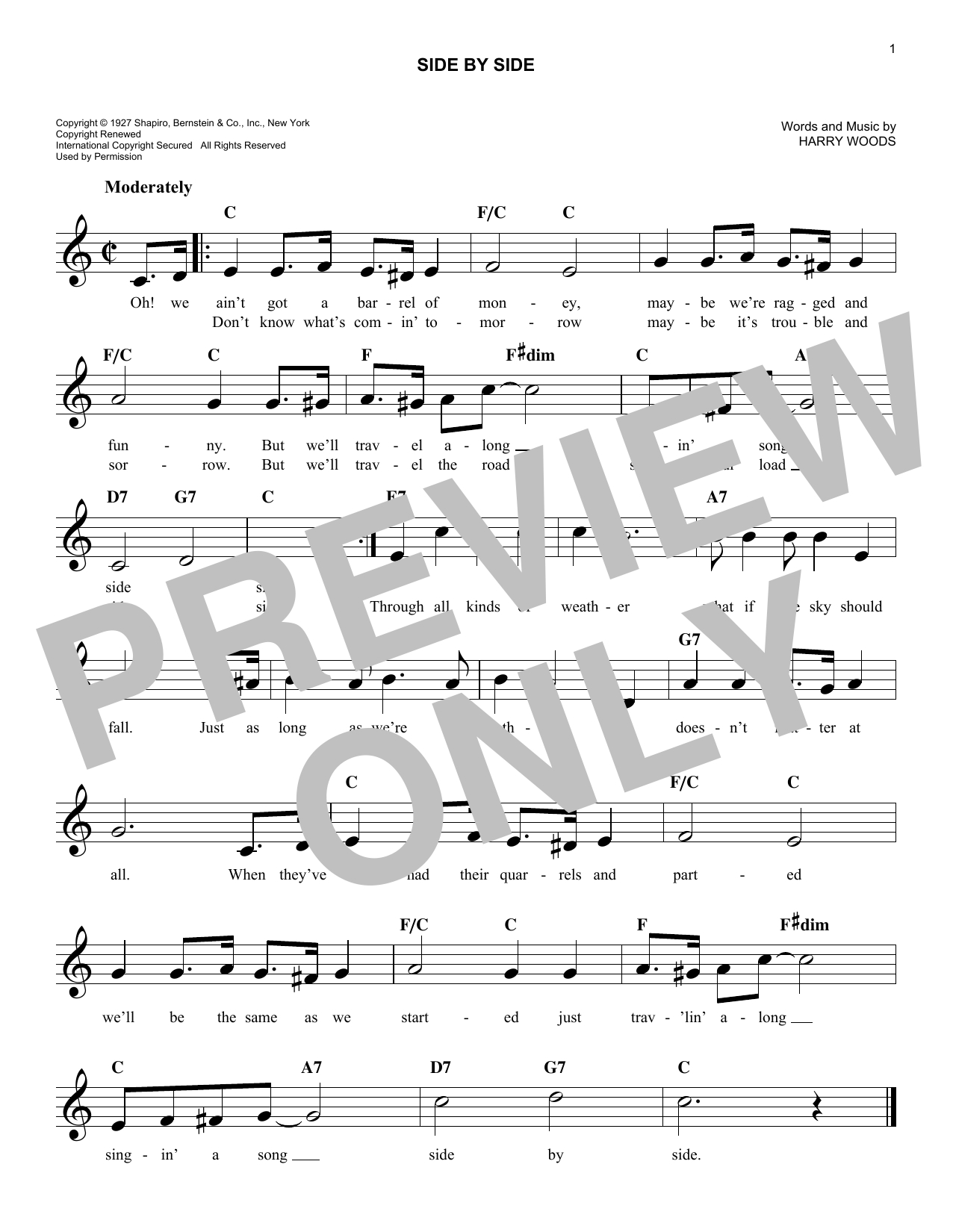 Side To Side Chords Side Side Patsy Cline Piano Vocal Guitar Right Hand Melody Digital Sheet Music