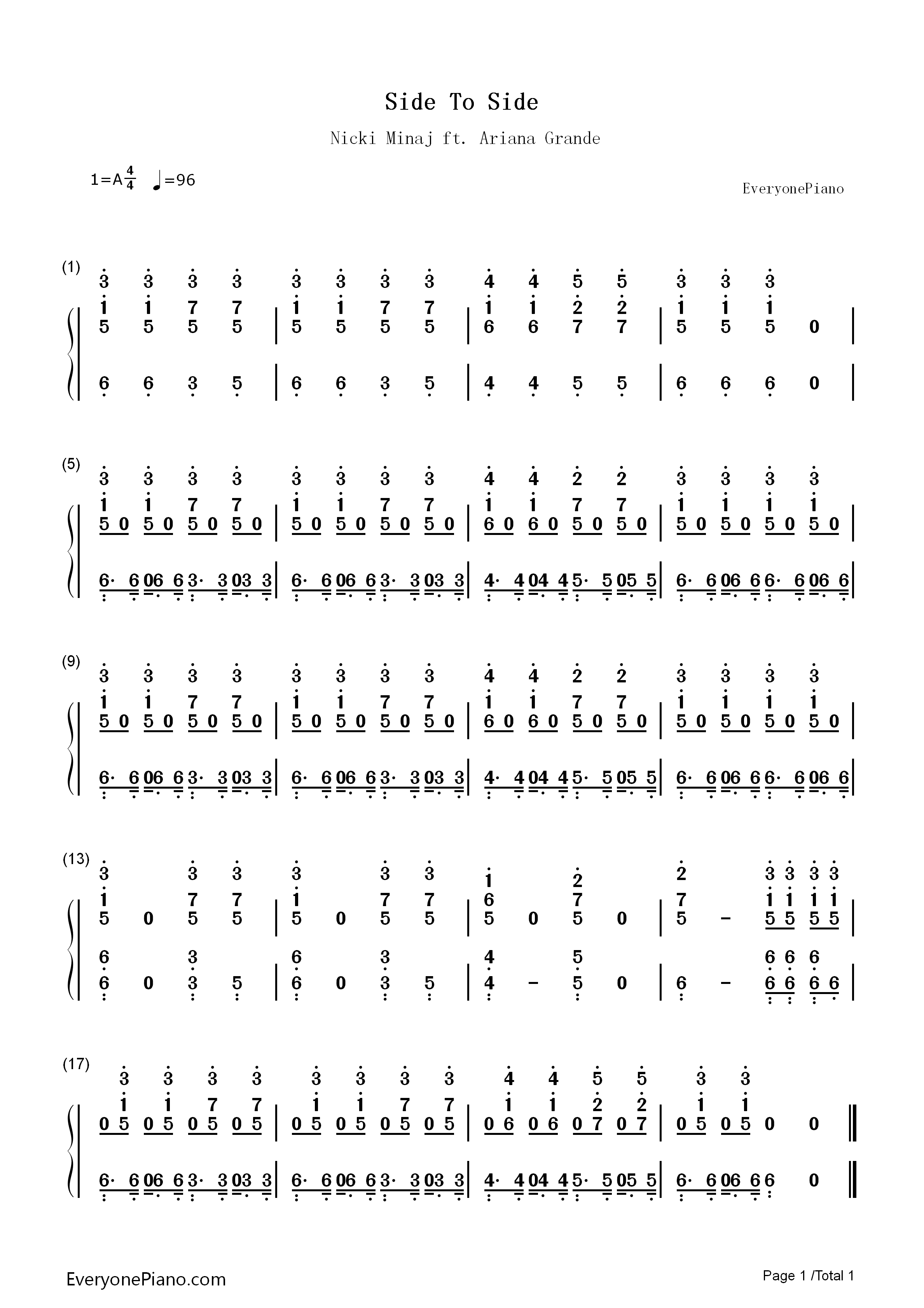 Side To Side Chords Side To Side Nicki Minajariana Grande Numbered Musical Notation Preview