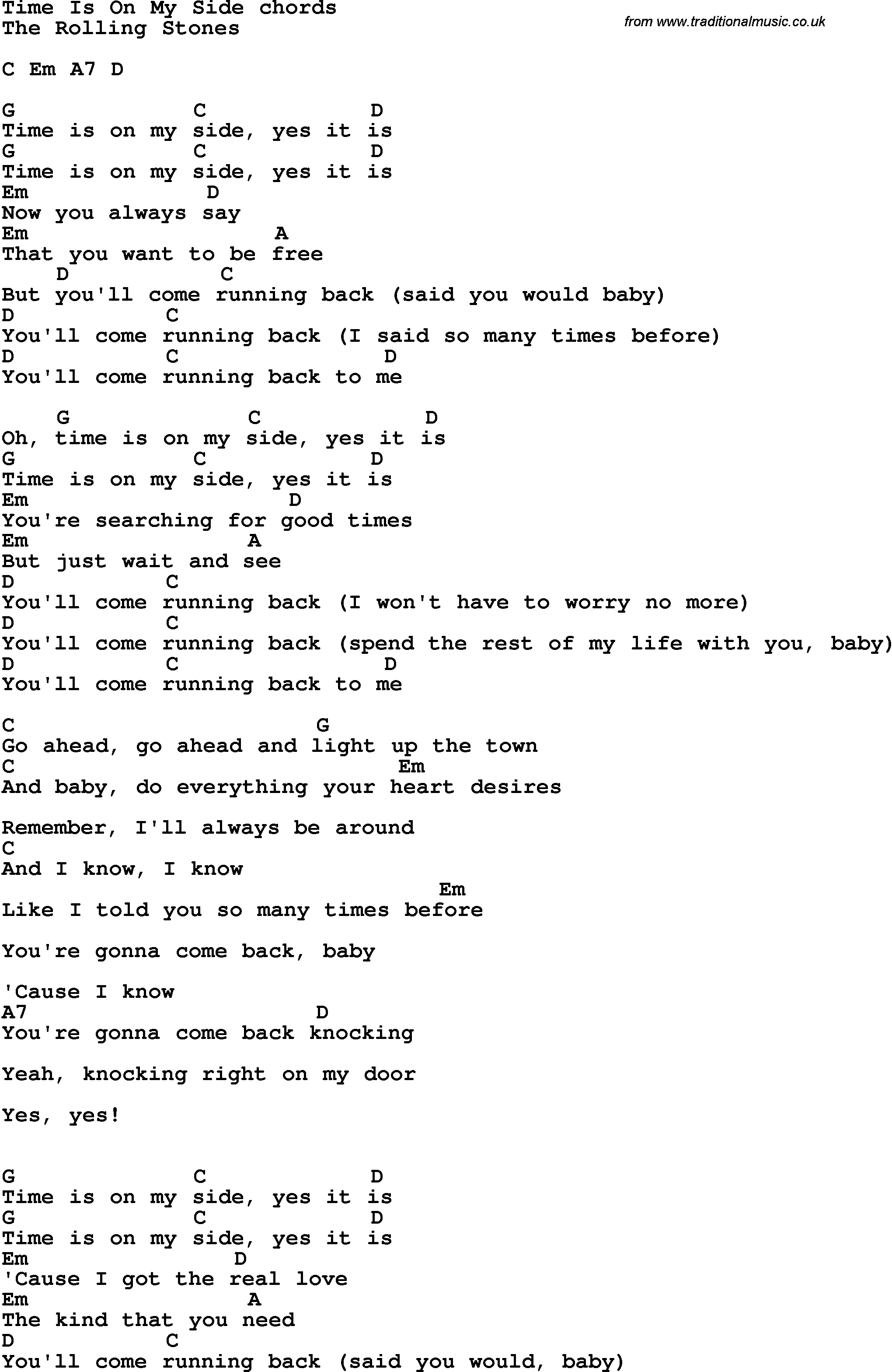Side To Side Chords Song Lyrics With Guitar Chords For Time Is On My Side