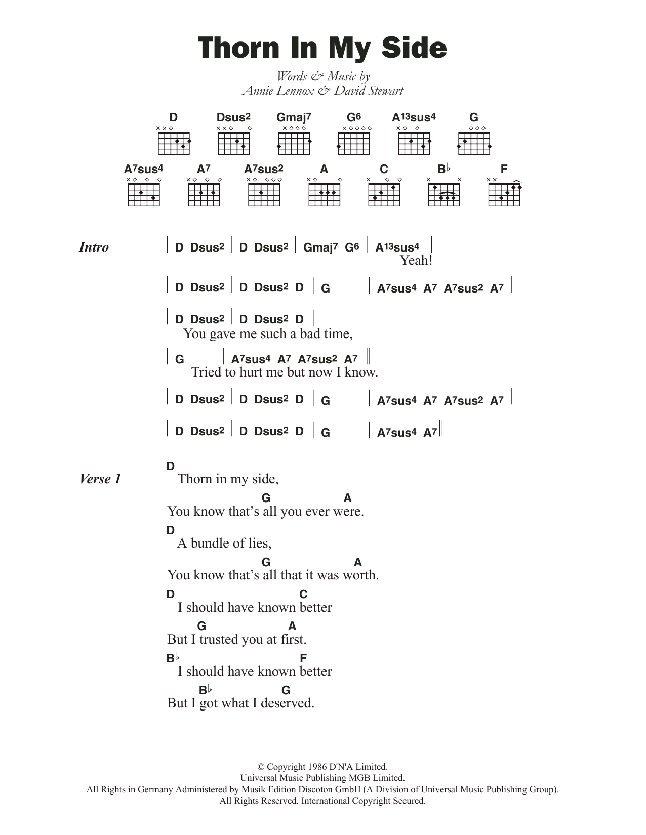 Side To Side Chords Thorn In My Side Eurythmics Guitar Chordslyrics Guitar