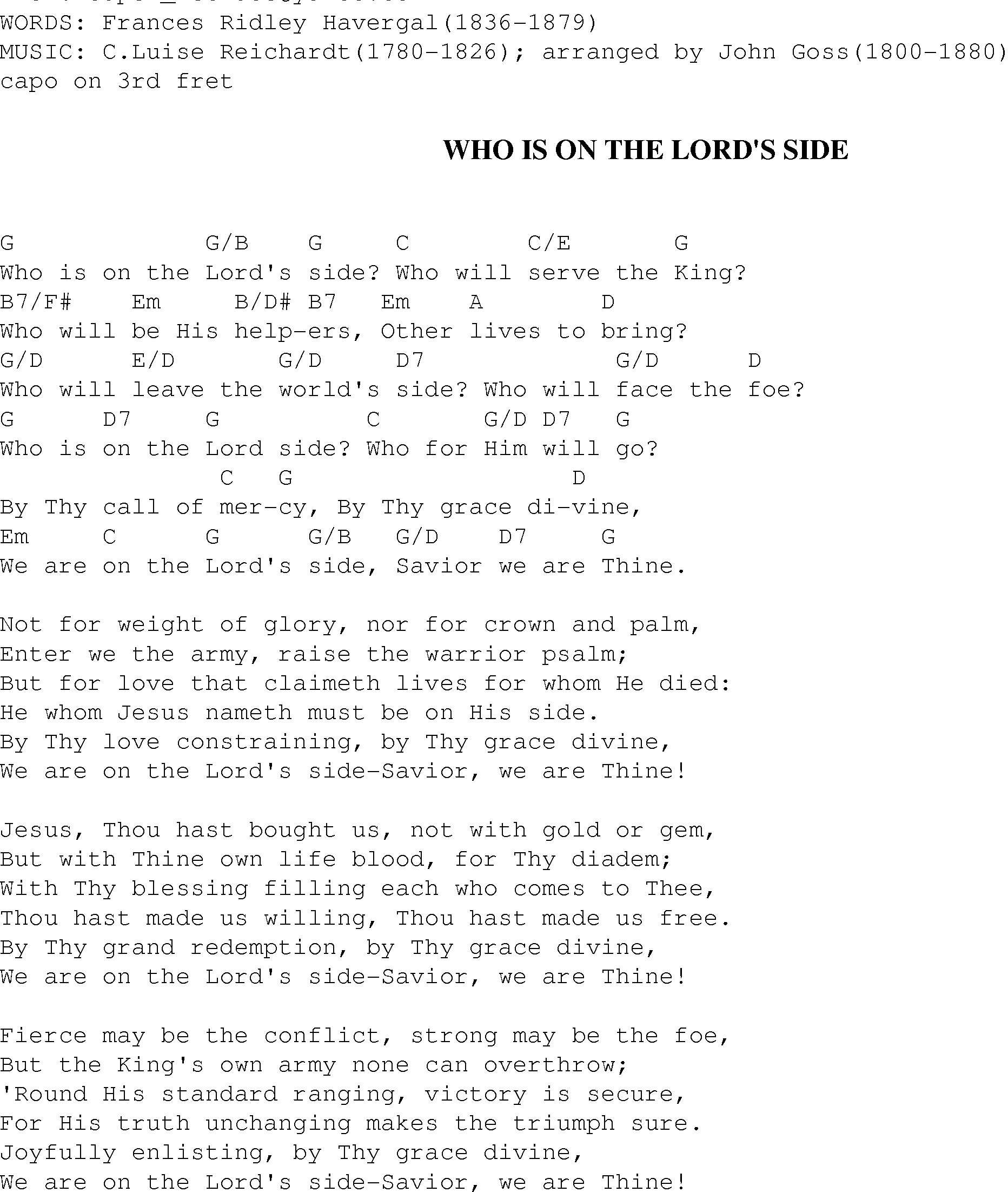 Side To Side Chords Who Is On The Lords Side Christian Gospel Song Lyrics And Chords