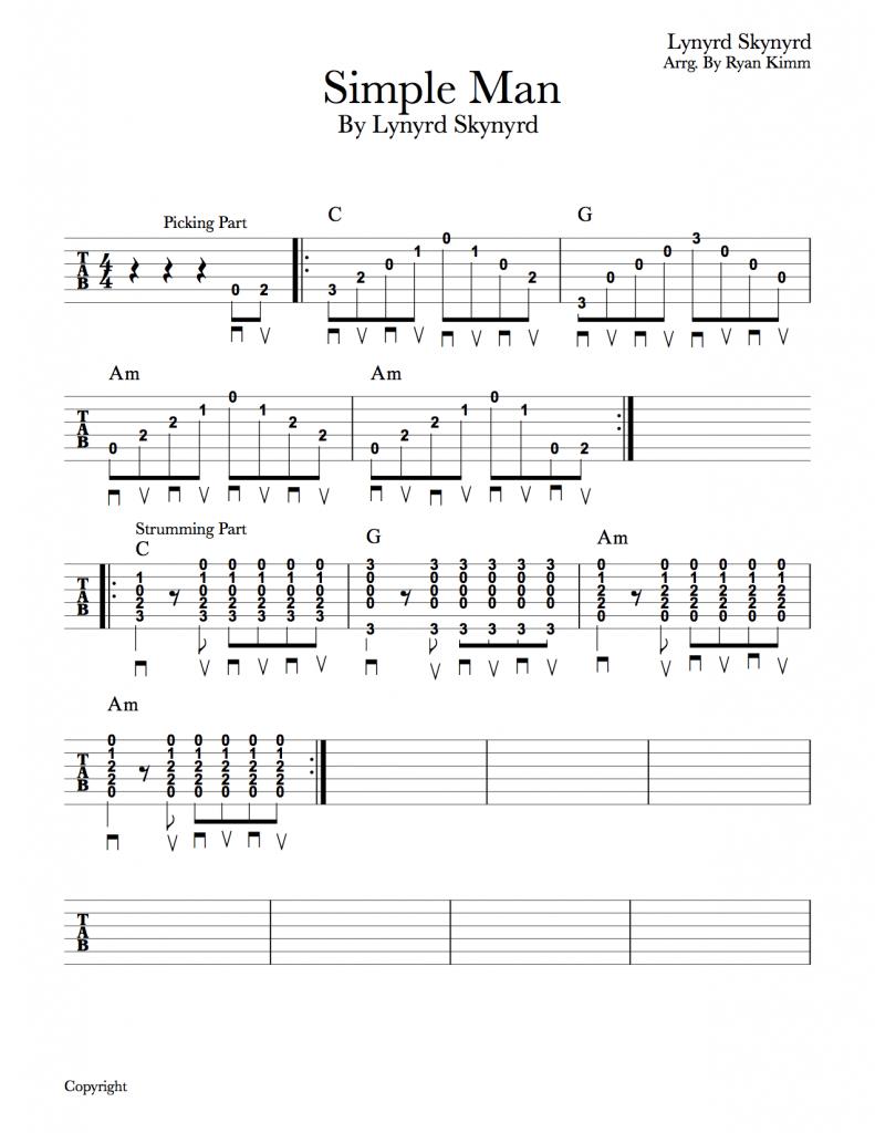 Simple Man Chords Easy Guitar Songs Simple Man Lynyrd Skynyrd Musika Blog