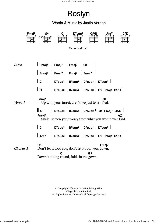 Skinny Love Chords Iver Roslyn Sheet Music For Guitar Chords Pdf