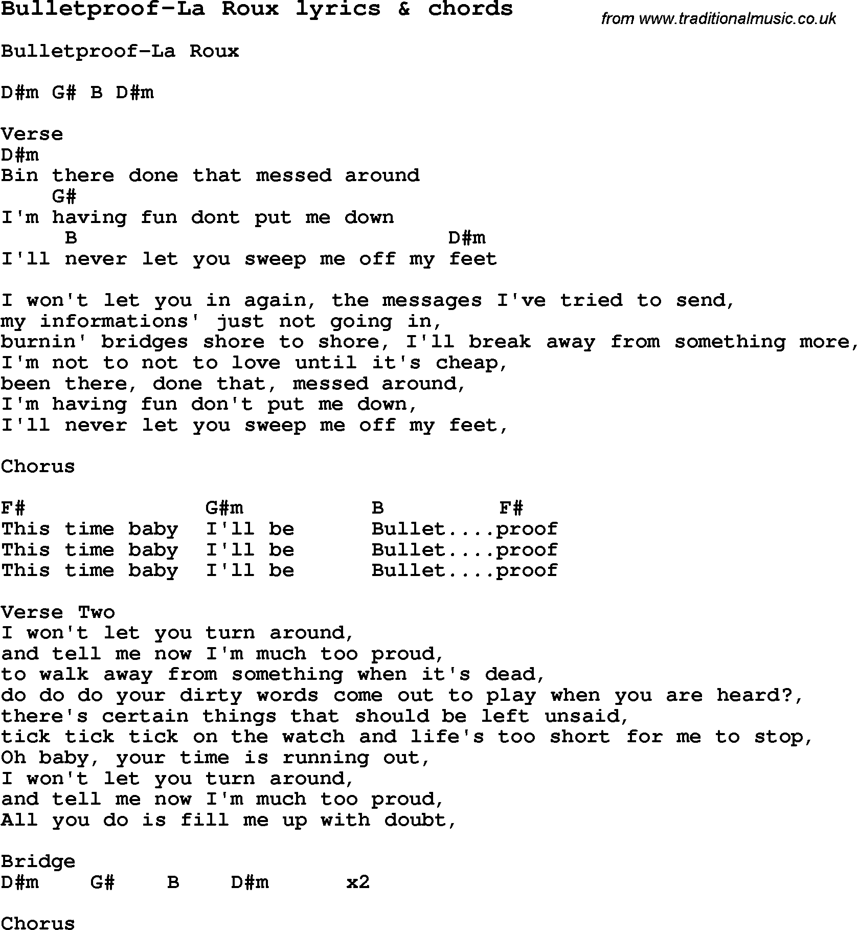 Skinny Love Chords Love Song Lyrics Forbulletproof La Roux With Chords