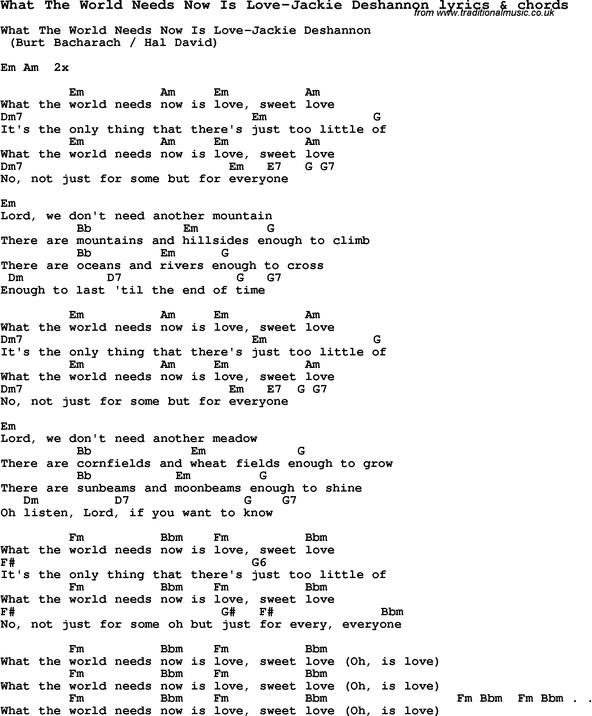 Skinny Love Chords Love Song Lyrics Forwhat The World Needs Now Is Love Jackie
