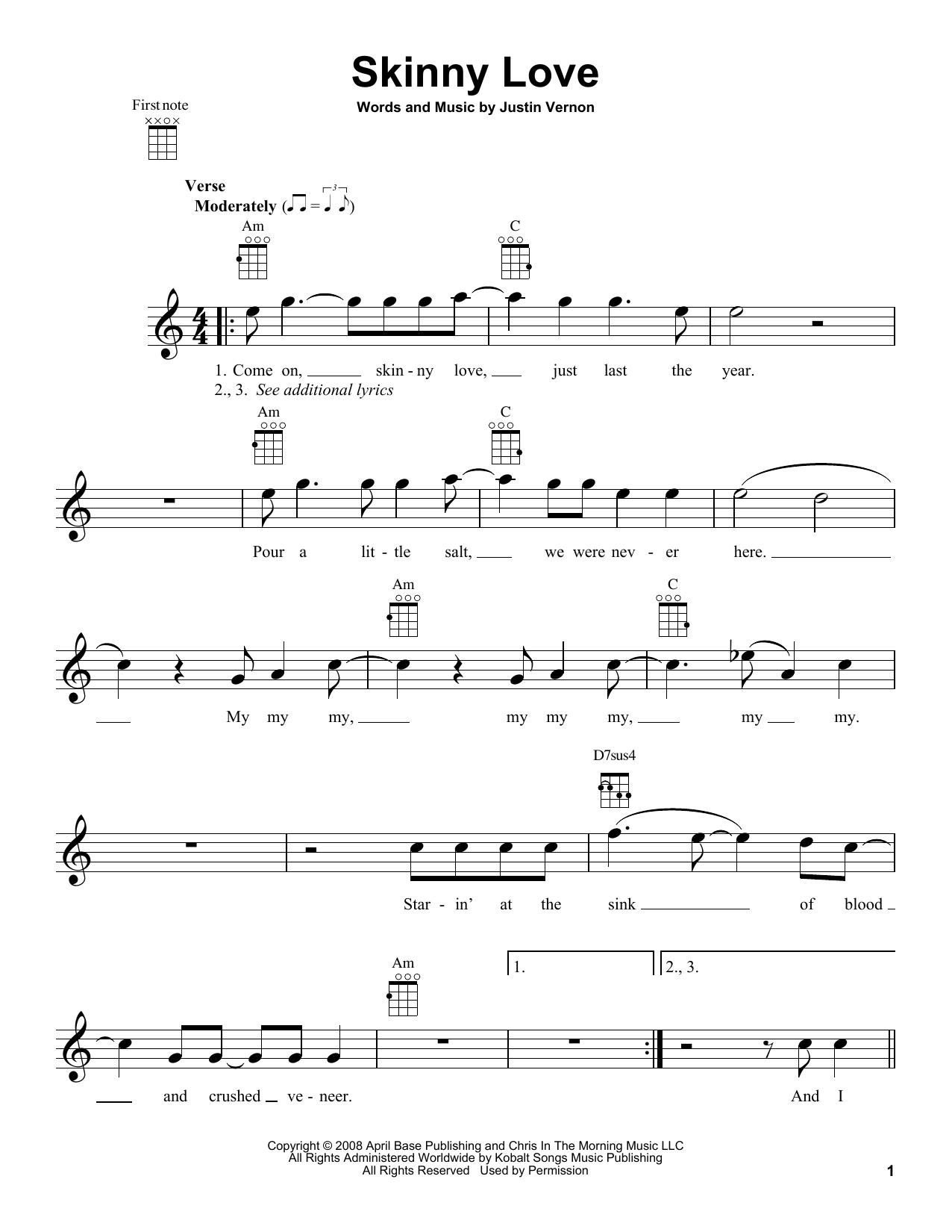 Skinny Love Chords Skinny Love Bon Iver Ukulele Guitar Instructor